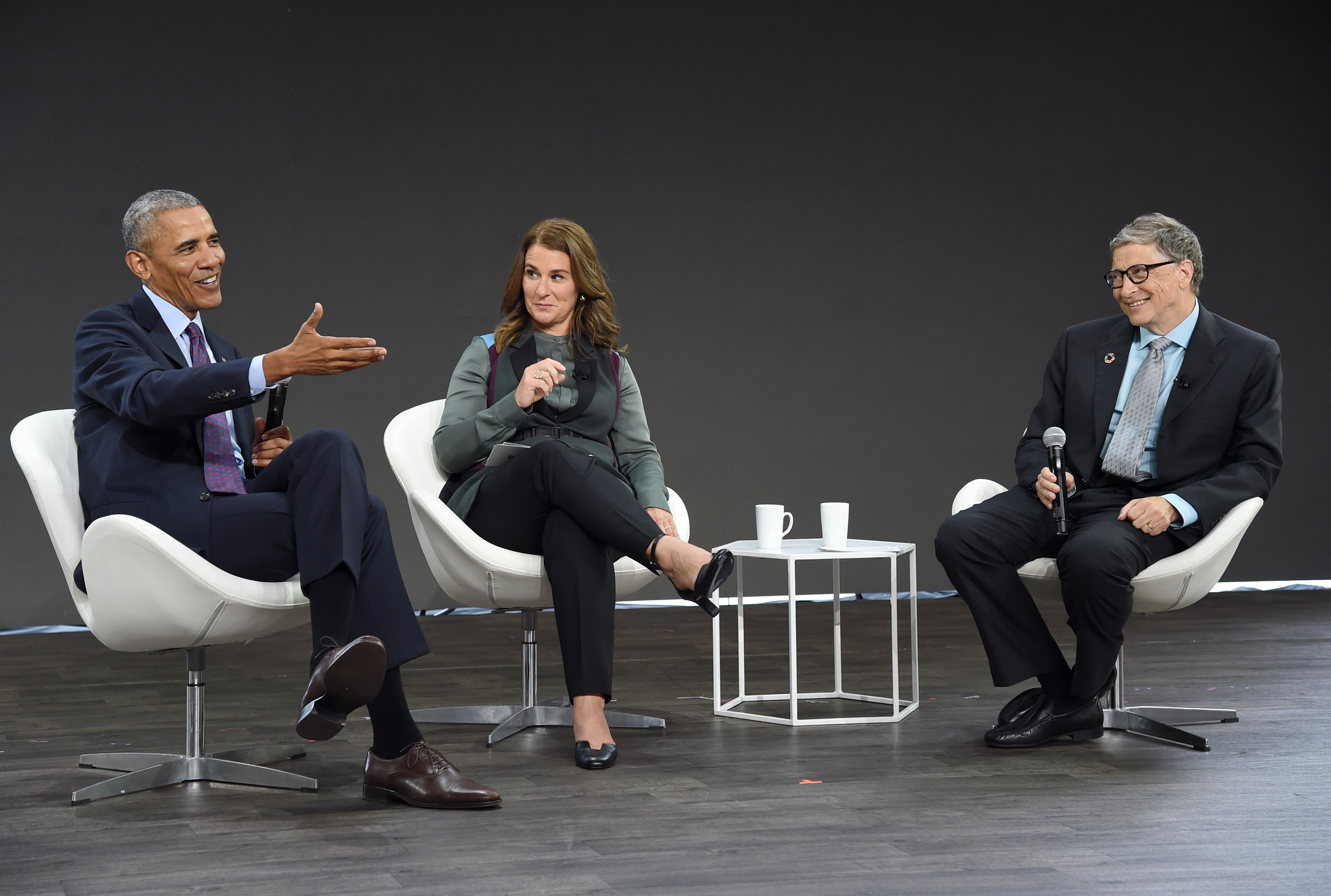 President Barack Obama, Melinda Gates and Bill Gates speak at Goalkeepers 2017, at Jazz at Lincoln Center on September 20, 2017 in New York City.  Goalkeepers is organized by the Bill & Melinda Gates Foundation to highlight progress against global poverty and disease, showcase solutions to help advance the Sustainable Development Goals (or Global Goals) and foster bold leadership to help accelerate the path to a more prosperous, healthy and just future.