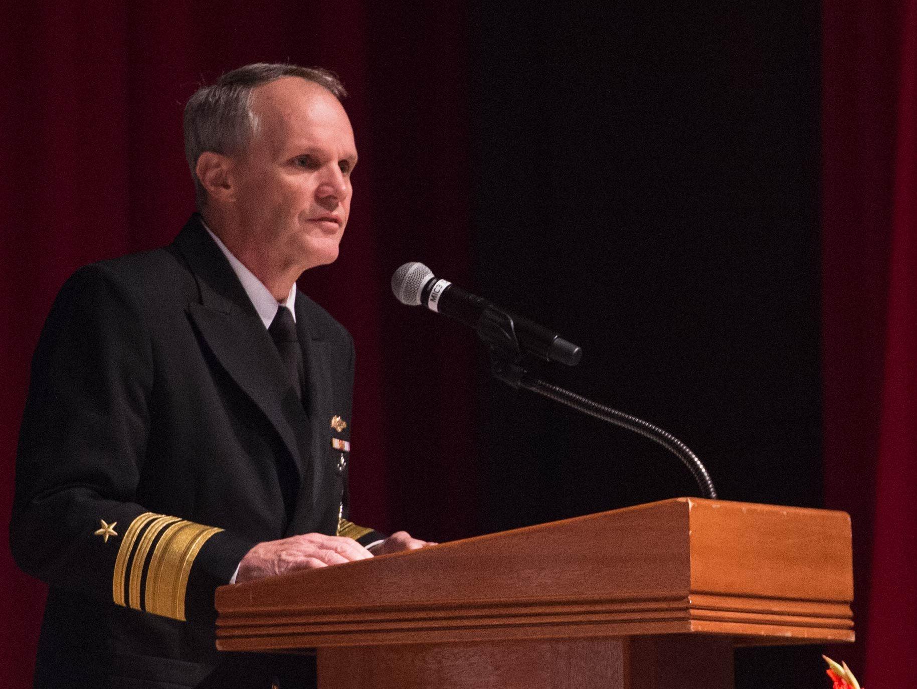 Vice Adm. Phillip G. Sawyer addresses attendees of the USS John S. McCain Memorial Service at Fleet Activities Yokosuka, Japan on Oct. 4, 2017.
