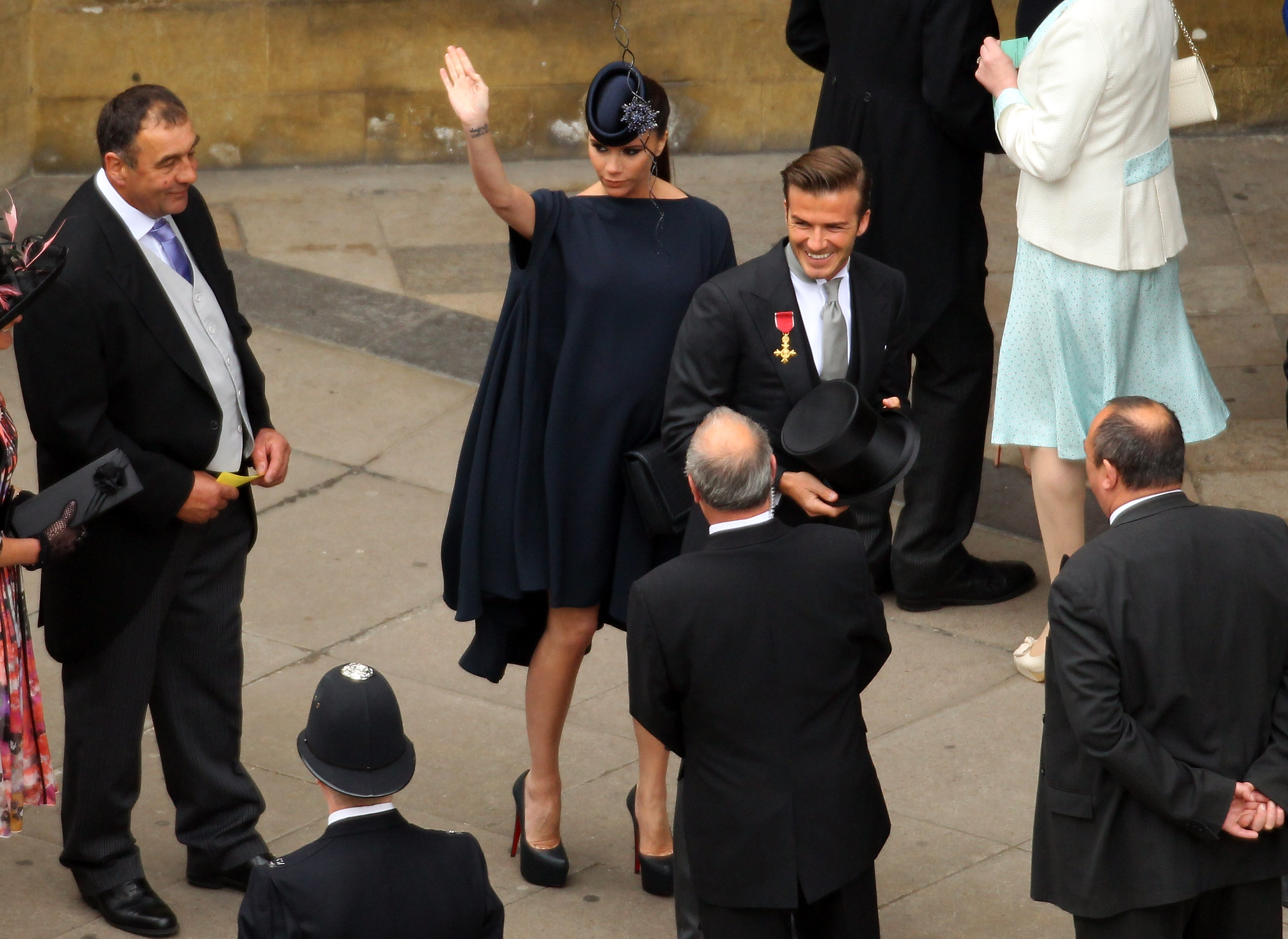 David and Victoria Beckham arrive for the Royal Wedding of Prince William to Catherine Middleton at Westminster Abbey on April 29, 2011 in London, England.