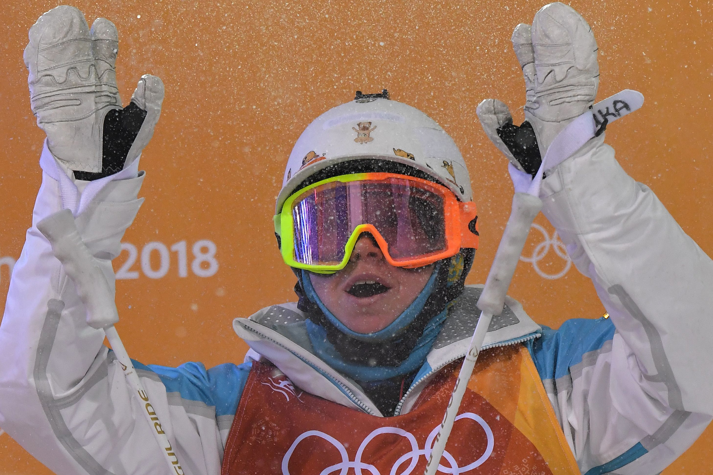 Kazakhstan's Yulia Galysheva reacts after the women's moguls final event during the Pyeongchang 2018 Winter Olympic Games on Feb. 11, 2018.