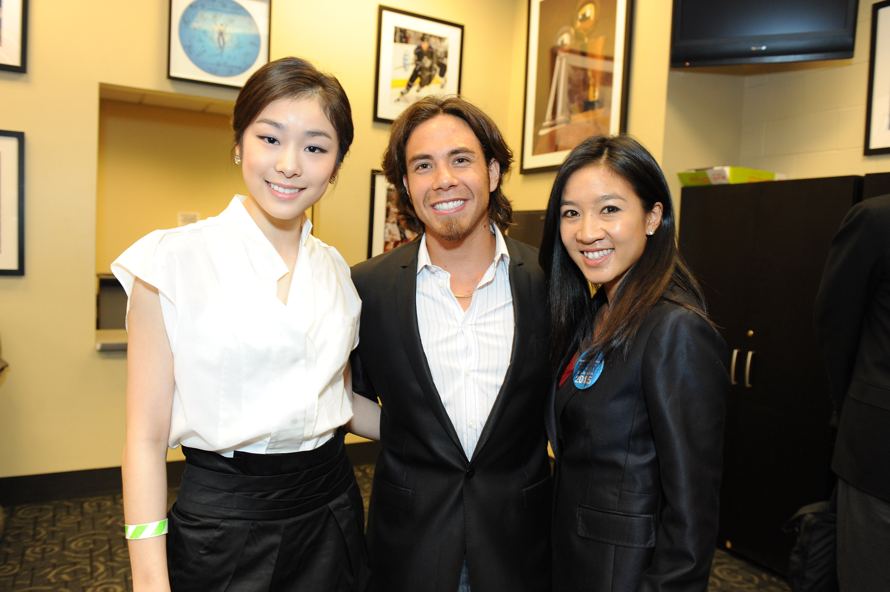 Olympic athletes Yuna Kim, Apolo Ono and Michelle Kwan attend the Special Olympics LA 2015 World Games press conference at Staples Center on September 14, 2011 in Los Angeles, California. (Photo by Jordan Strauss/WireImage)