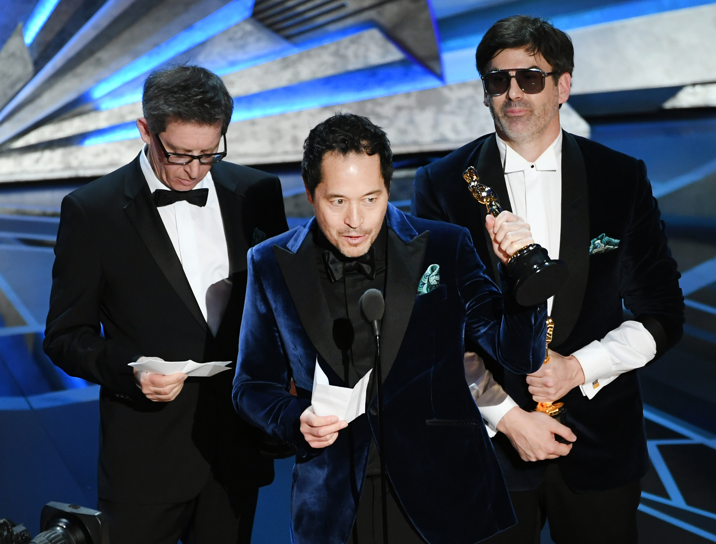 Production designers Jeff Melvin, Paul Denham Austerberry and Shane Vieau accept Best Production Design for 'The Shape of Water' onstage during the 90th Annual Academy Awards at the Dolby Theatre at Hollywood & Highland Center on March 4, 2018 in Hollywood.