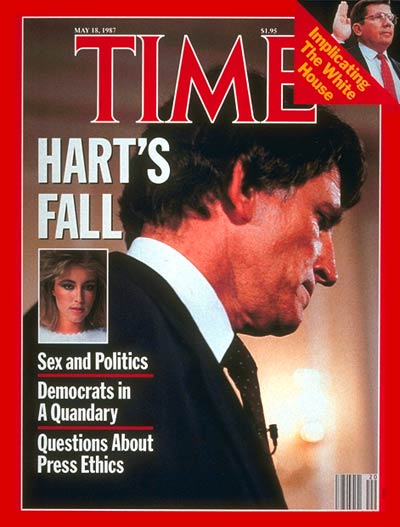 The May 18, 1987, cover of TIME featured Gary Hart, the Colorado Senator who was considered the frontrunner for the 1988 Democratic presidential nomination until he had to drop out of the race when it was revealed that he had an extramarital affair.
