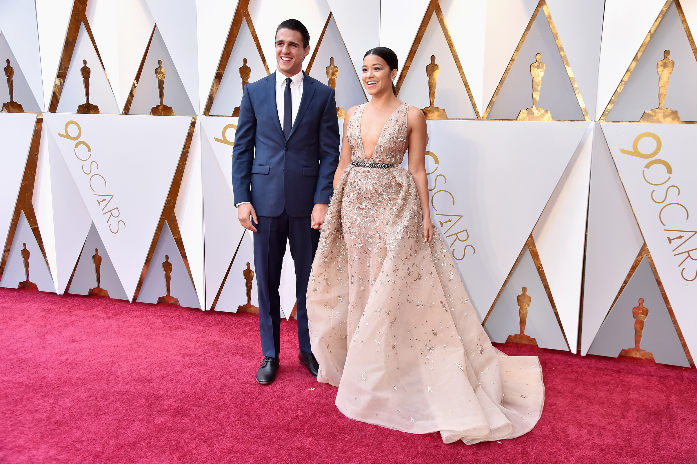 Joe LoCicero and Gina Rodriguez attend the 90th Annual Academy Awards at Hollywood & Highland Center on March 4.