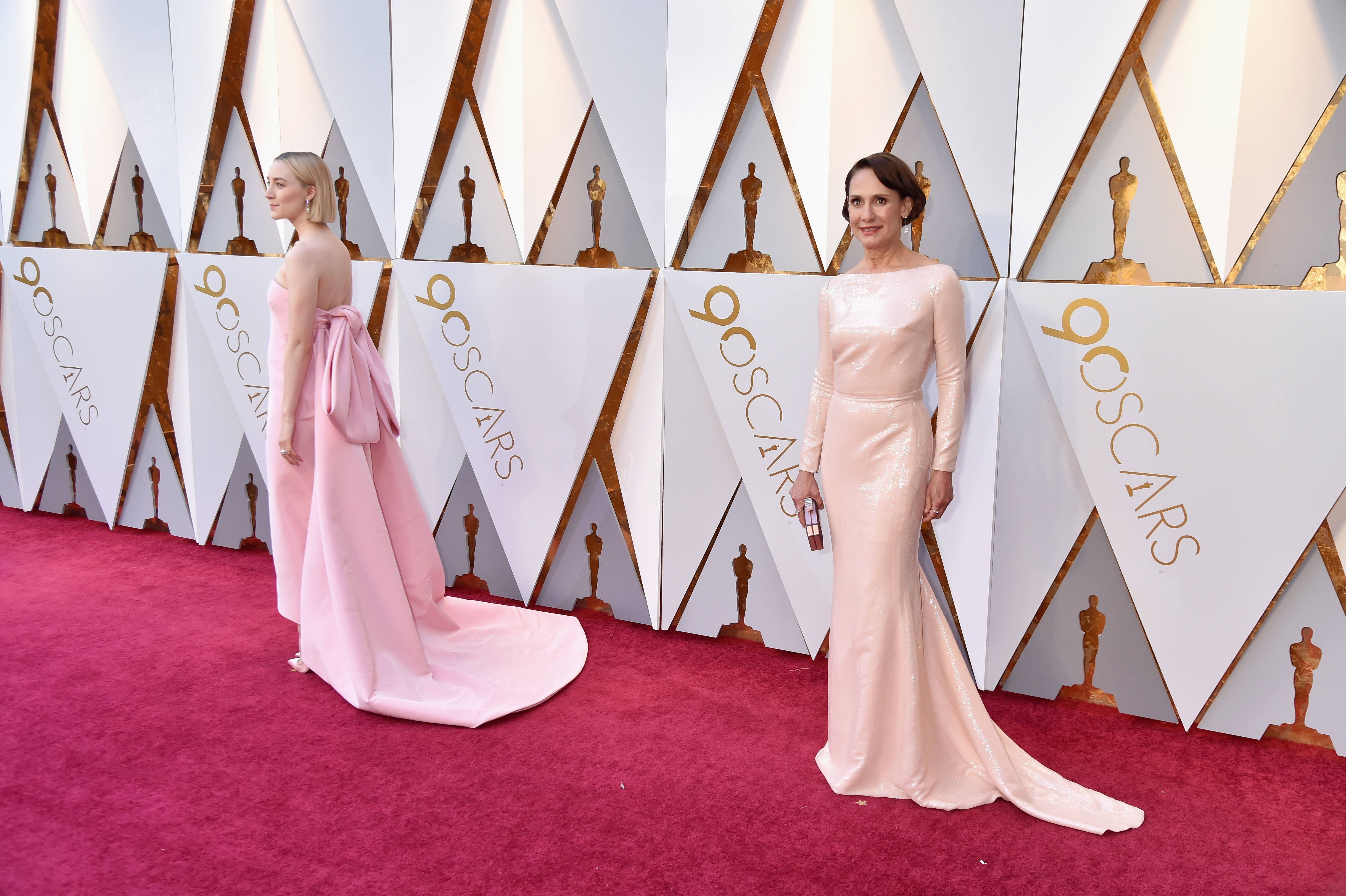 Saoirse Ronan and Laurie Metcalf attend  the 90th Annual Academy Awards at Hollywood & Highland Center on March 4.