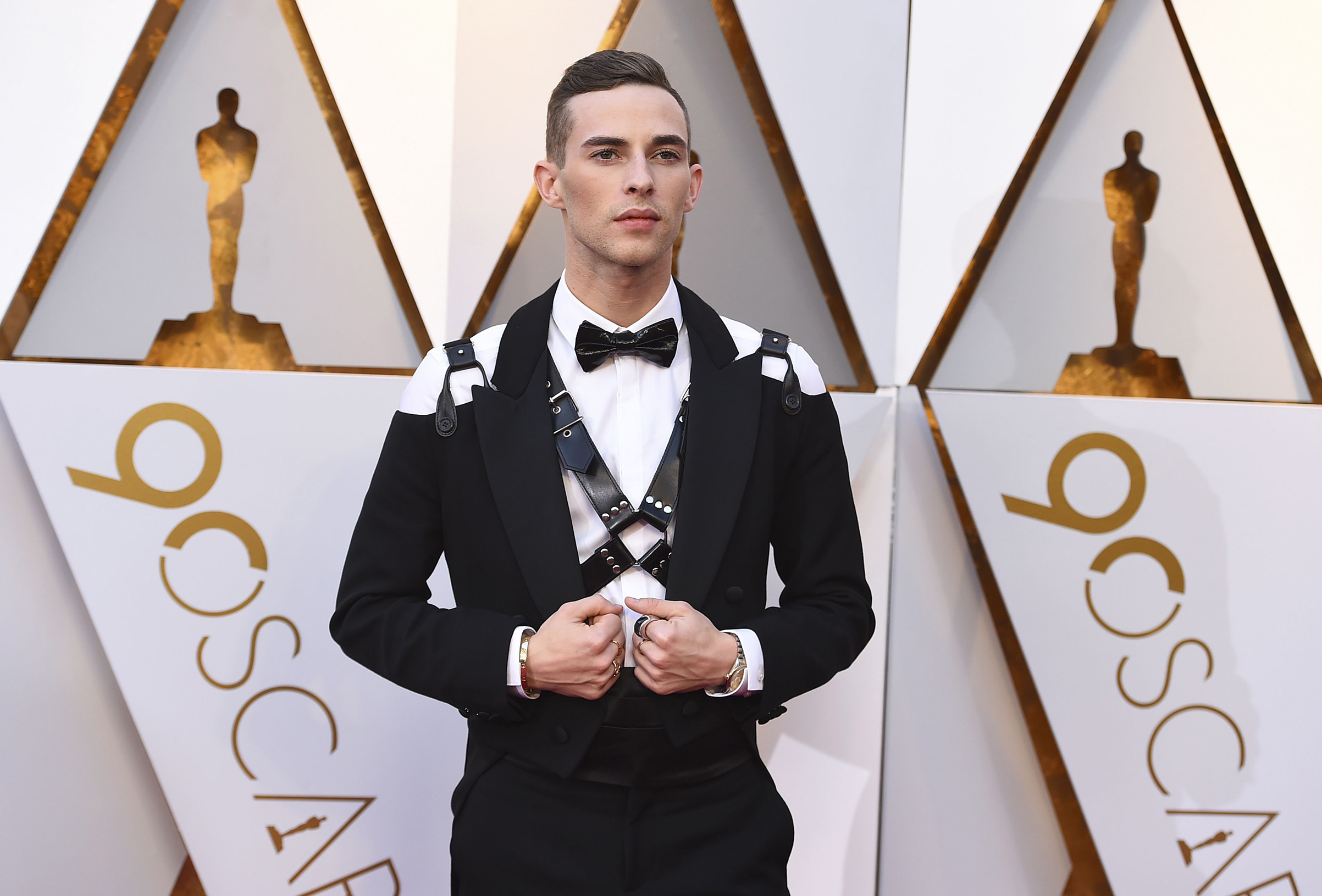 Adam Rippon arrives at the Oscars, at the Dolby Theatre on March 4.