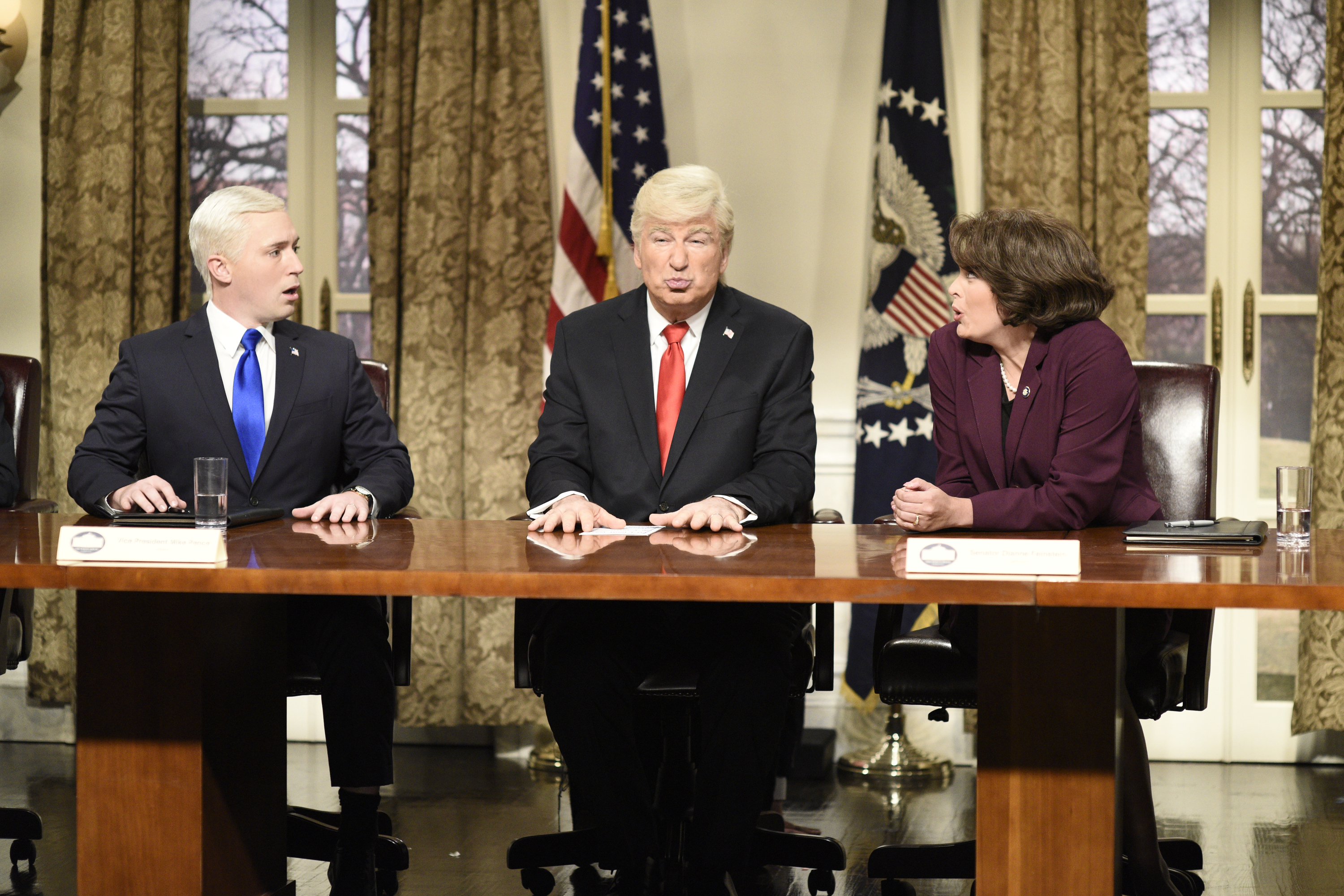 Beck Bennett as Vice President Mike Pence, Alec Baldwin as President Donald J. Trump, Cecily Strong as Senator Dianne Feinstein during the  Presidential Address Cold Open  in Studio 8H on Saturday, March 3, 2018