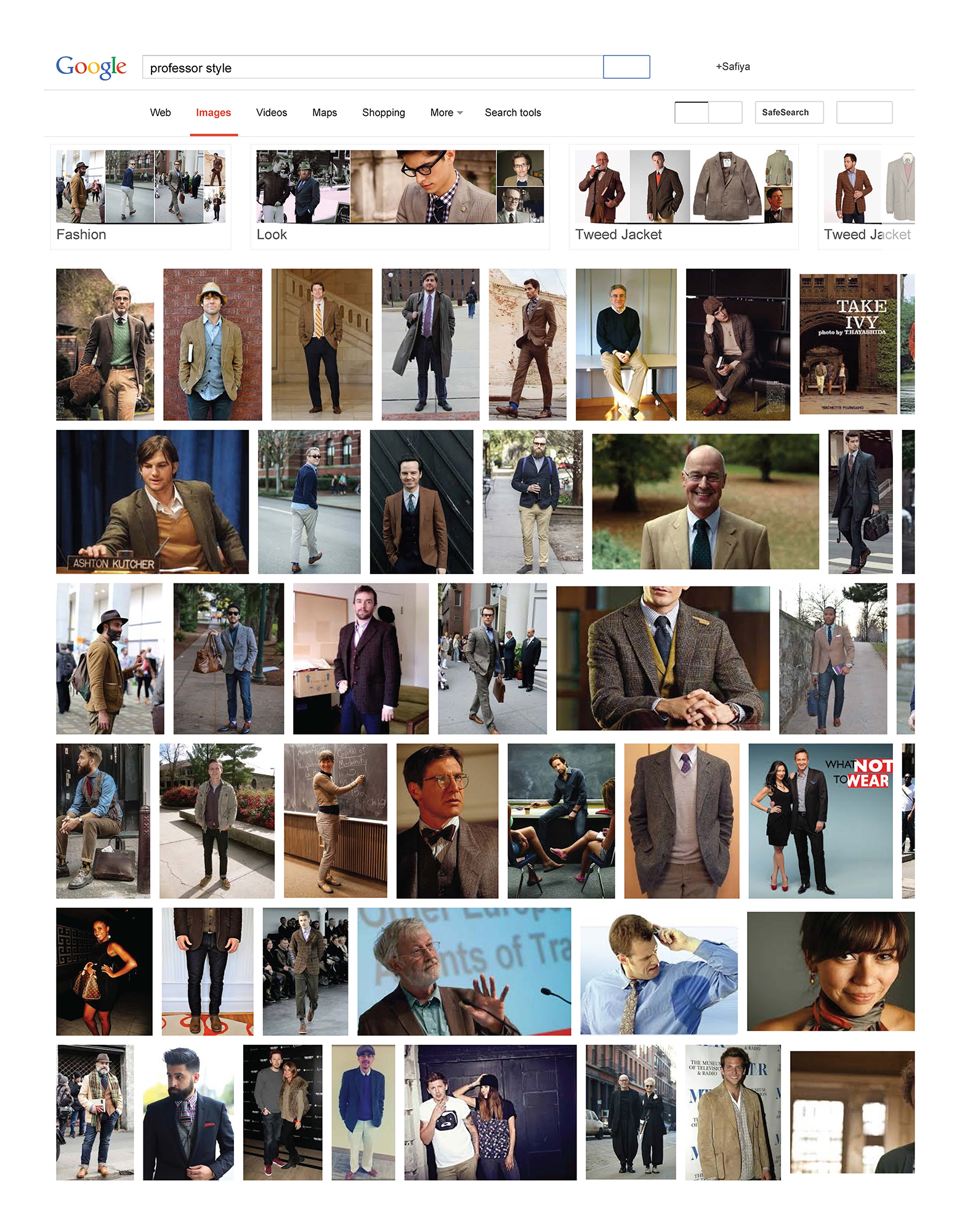 "Google Images results when searching the phrase ""professor style"" while logged in as Safiya Noble, September 15, 2015."