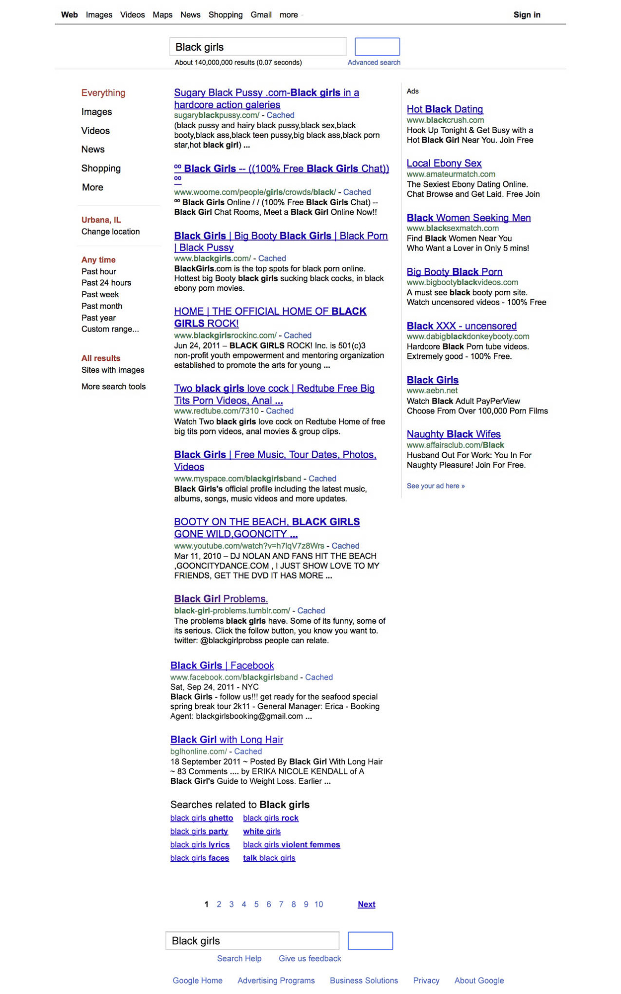 "First page of search results on keywords ""black girls,"" September 18, 2011."
