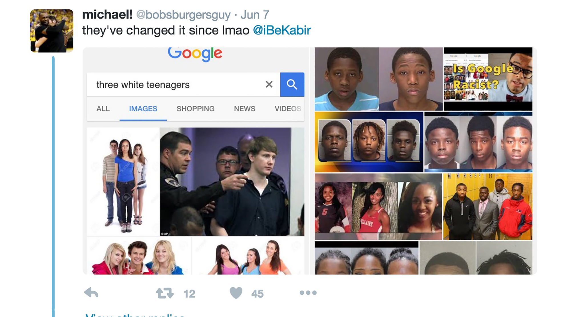 "Kabir Ali's tweet about his searching for ""three white teenagers"" shows wholesome teens in stock photography."