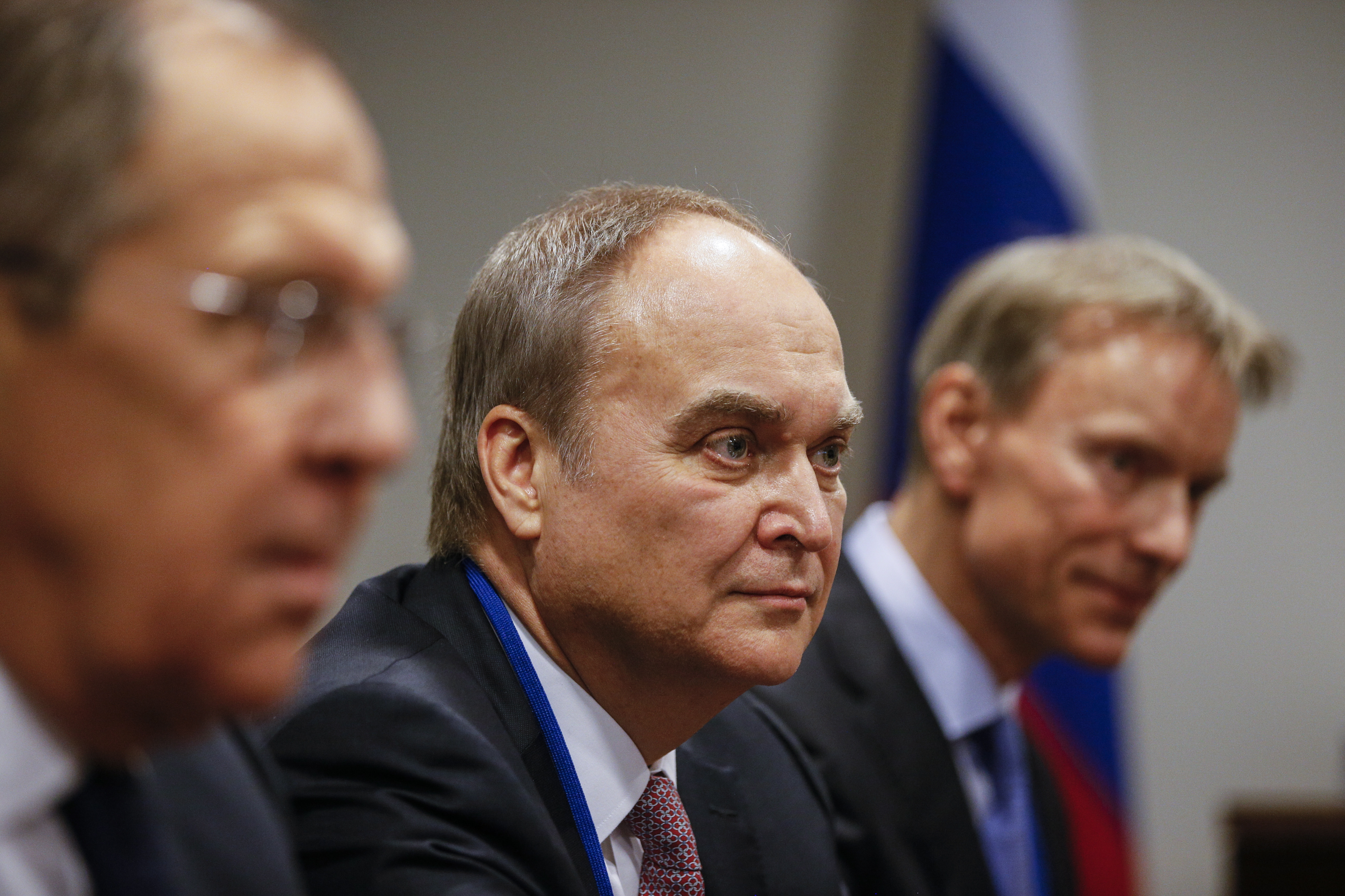 Russia's Minister of Foreign Affairs Sergei Lavrov, Russia's Ambassador to the USA Anatoly Antonov seen during a meeting with Uzbekistan's Foreign Minister Abdulaziz Kamilov at the UN Headquarters.