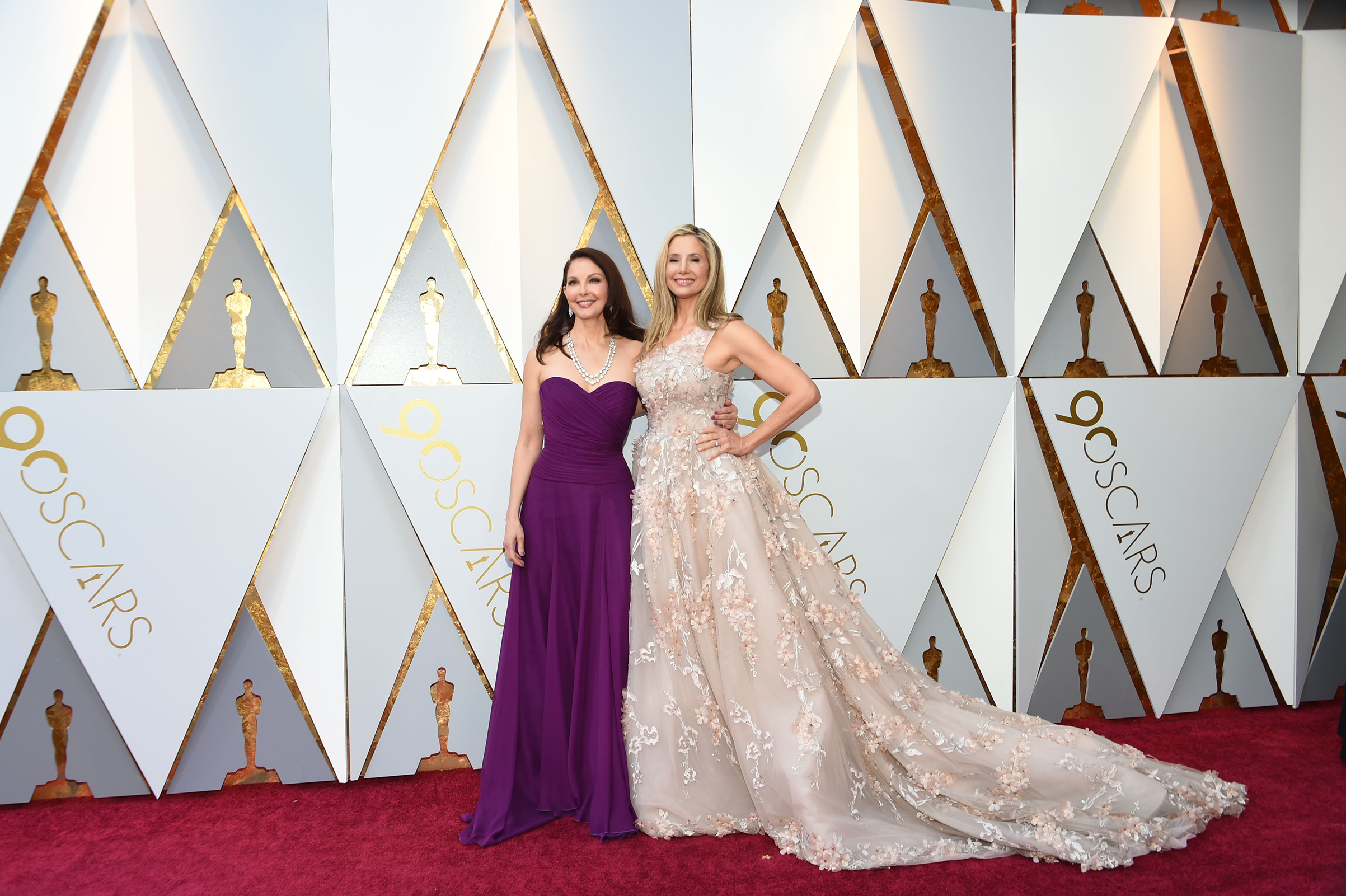 Ashley Judd and Mira Sorvino arrive for the 90th Annual Academy Awards in  in Hollywood on March 4, 2018.