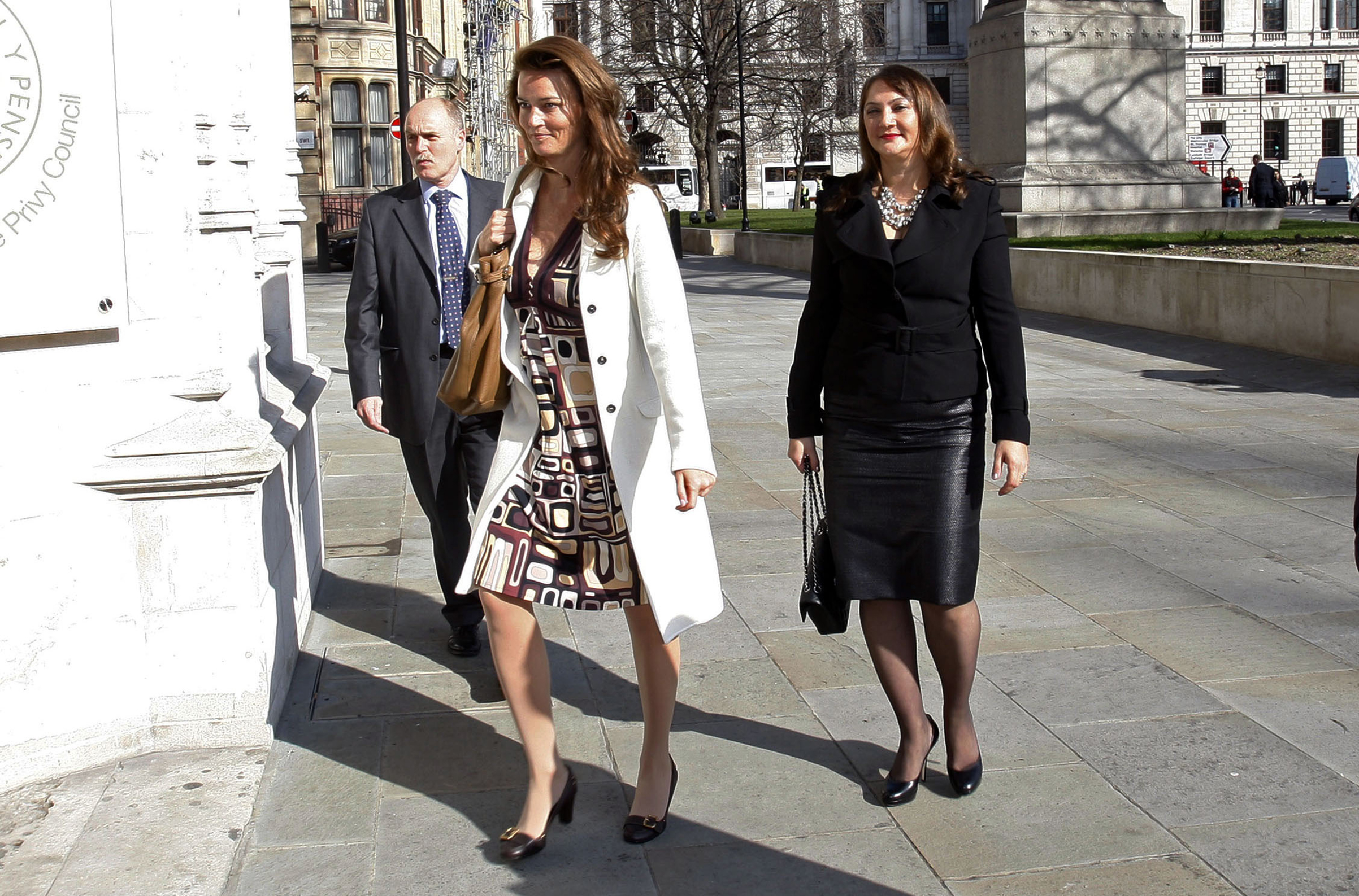 German heiress Katrin Radmacher, followed by Vardag, arrives for her hearing at the Supreme Court in London in 2010.