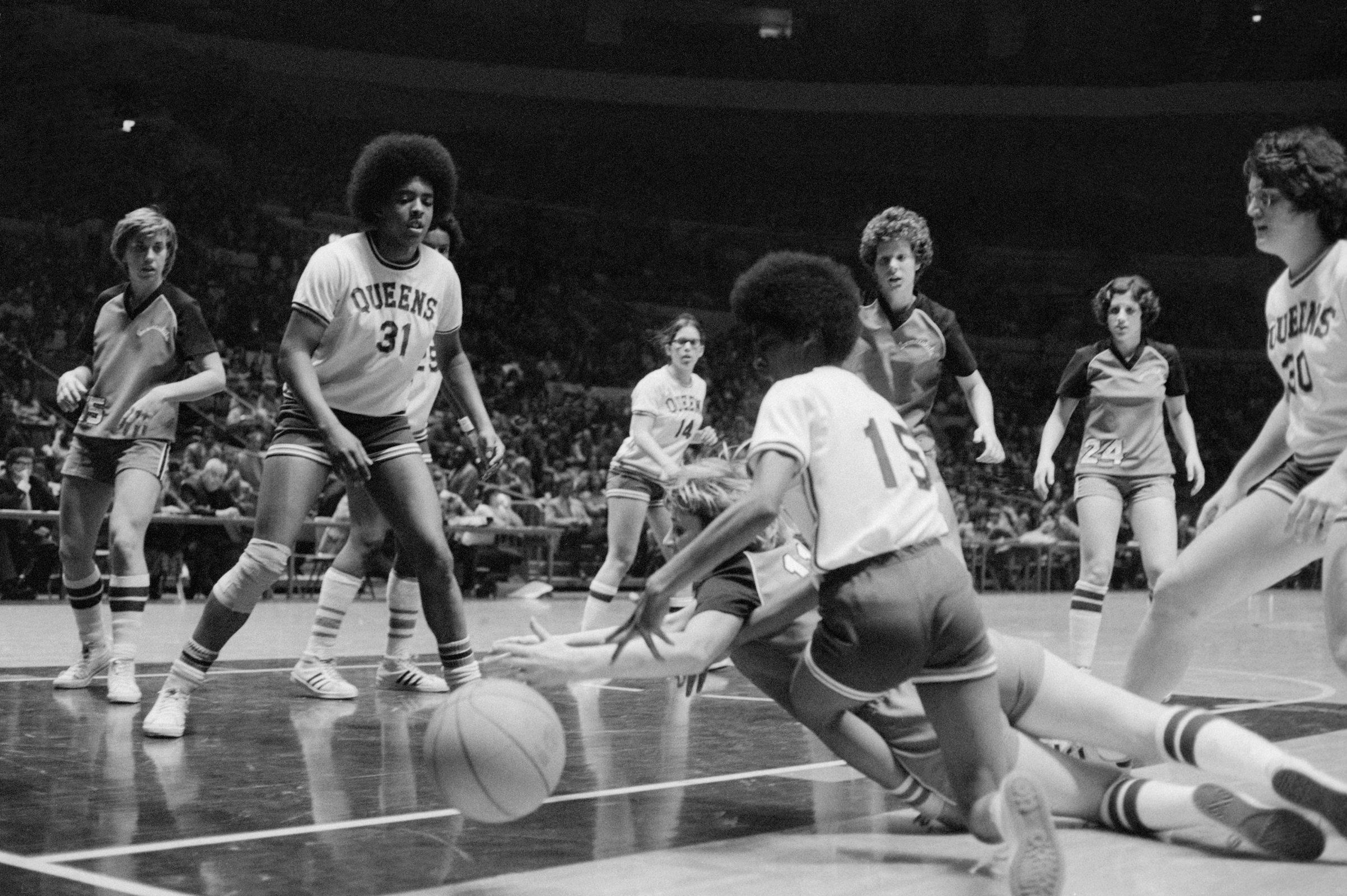 Women's college basketball action in Madison Square Garden in 1975