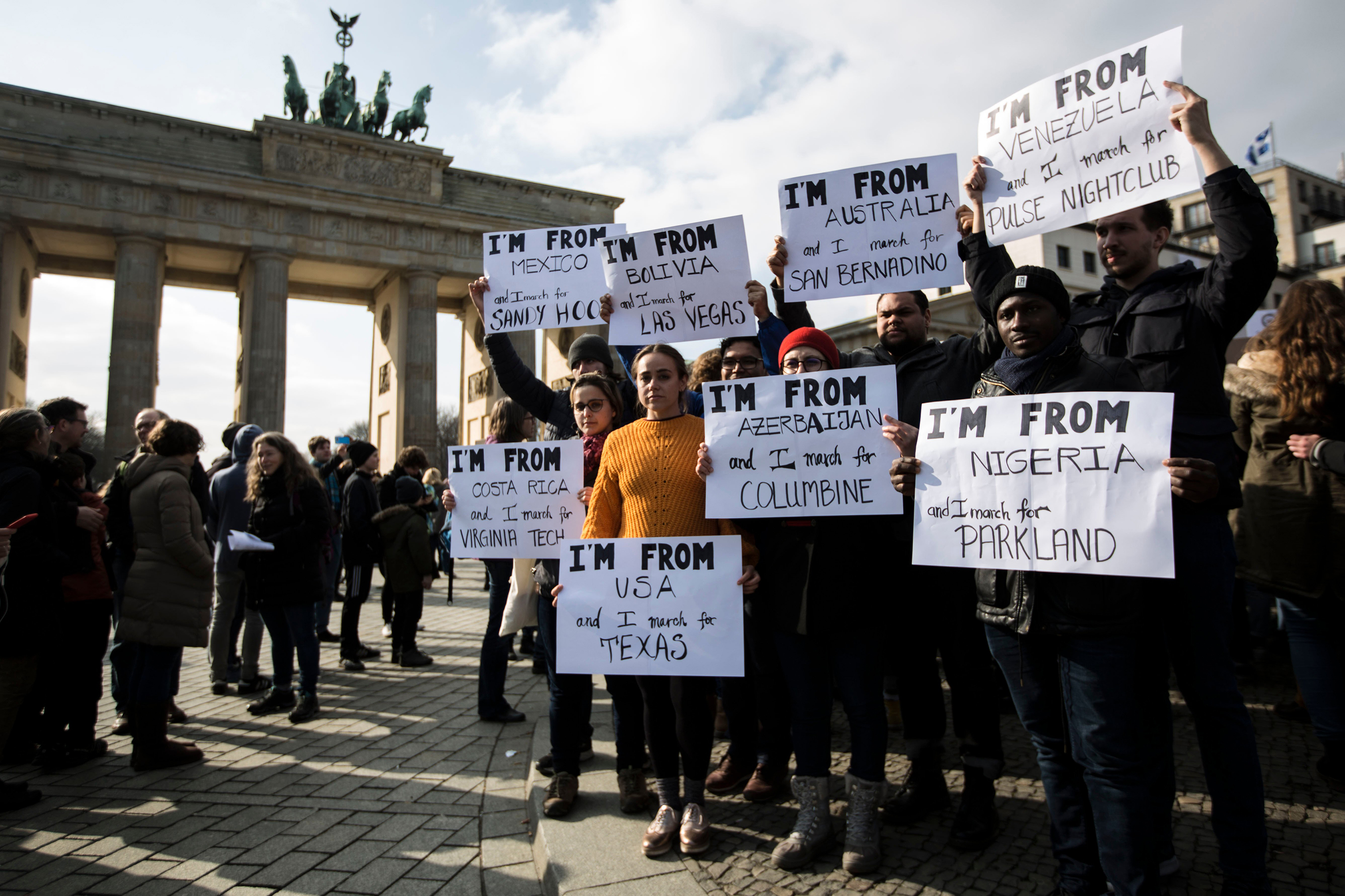 About 500 people gathered at Brandenburg Gate in the German capital to honor the victims of the Parkland massacre and call for stronger gun control in the United States.