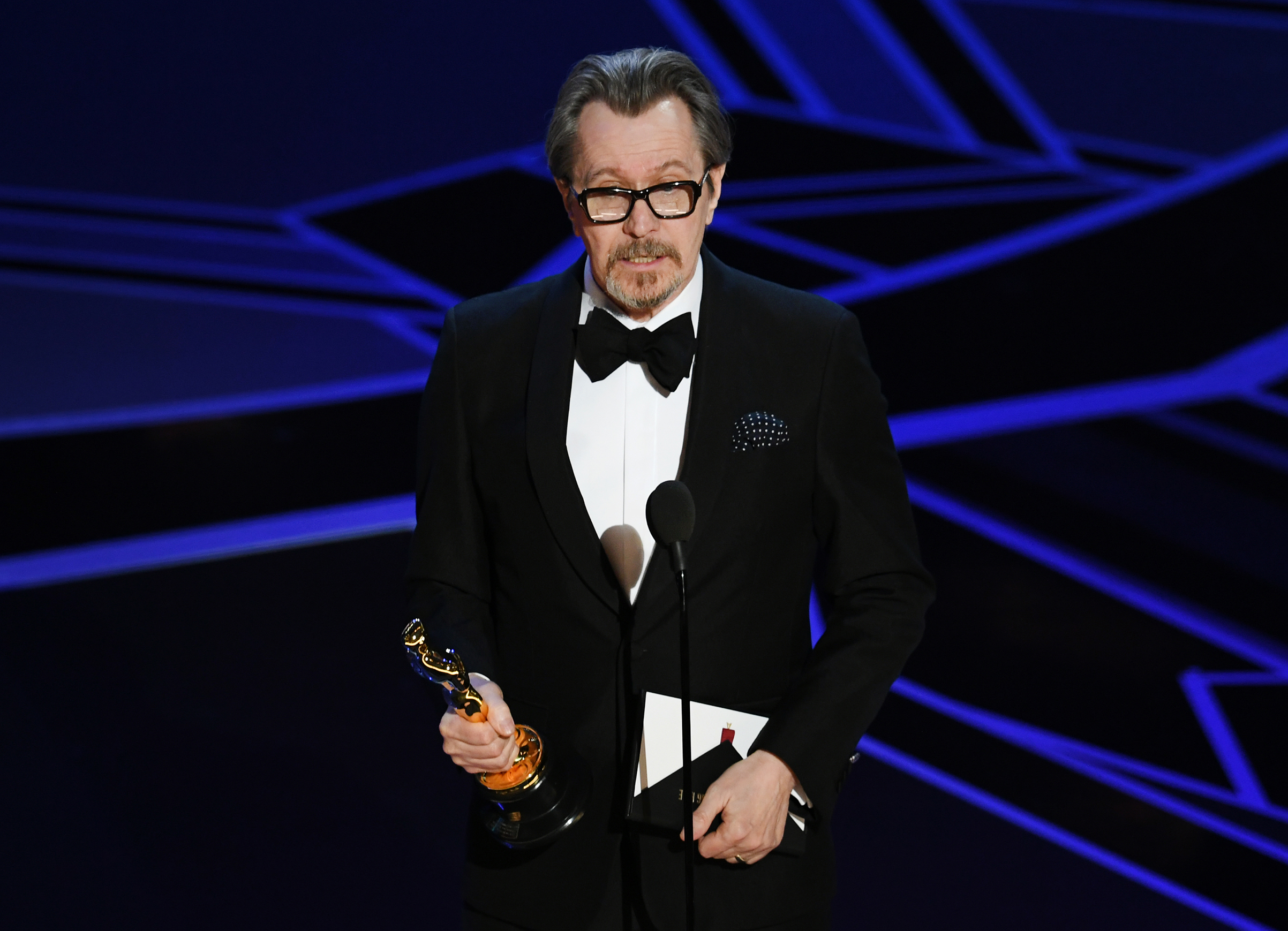 Actor Gary Oldman accepts Best Actor for 'Darkest Hour' onstage during the 90th Annual Academy Awards at the Dolby Theatre at Hollywood & Highland Center on March 4, 2018 in Hollywood.