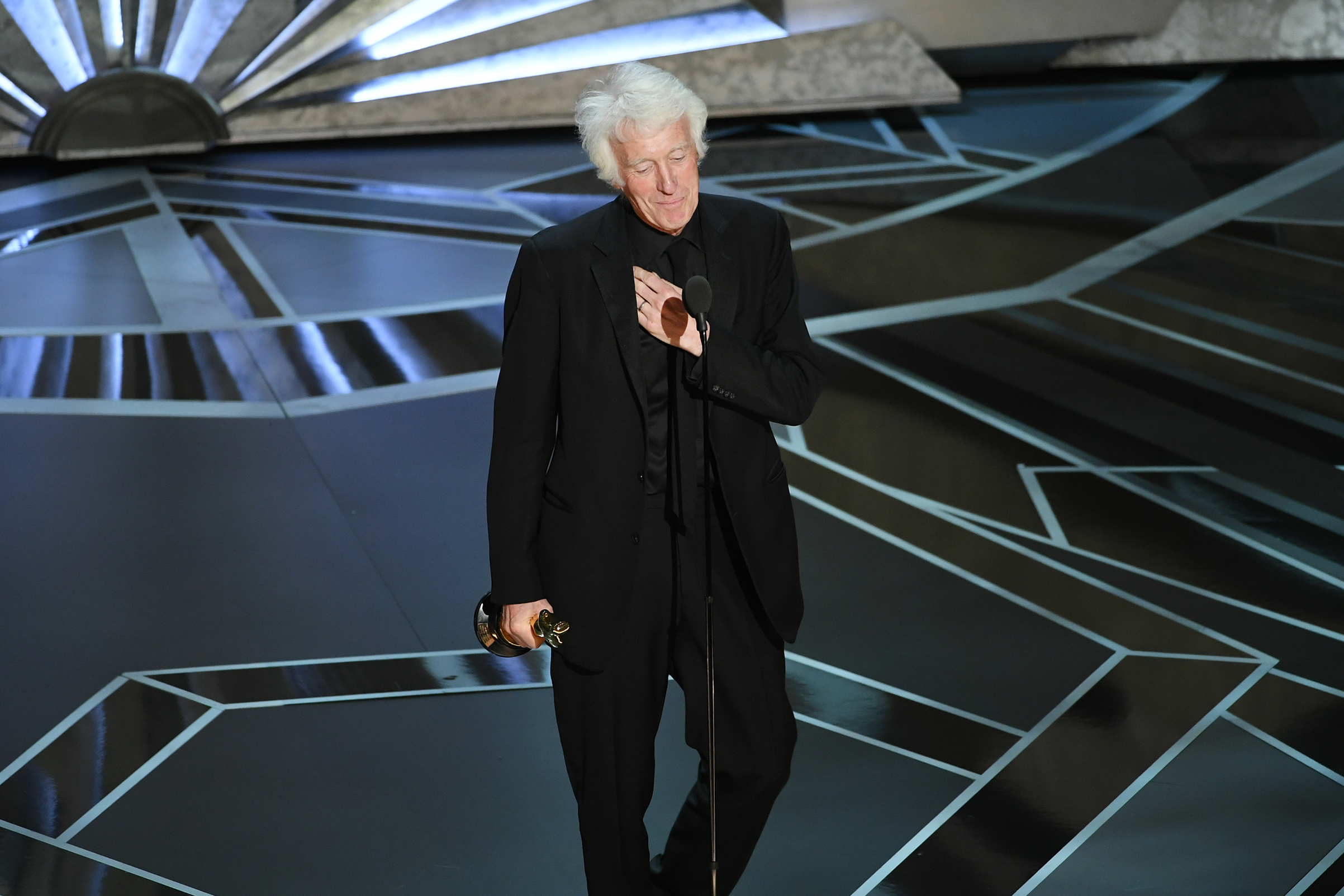 Cinematographer Roger A. Deakins accepts Best Cinematography for 'Blade Runner 2049' onstage during the 90th Annual Academy Awards at the Dolby Theatre at Hollywood & Highland Center on March 4, 2018 in Hollywood.