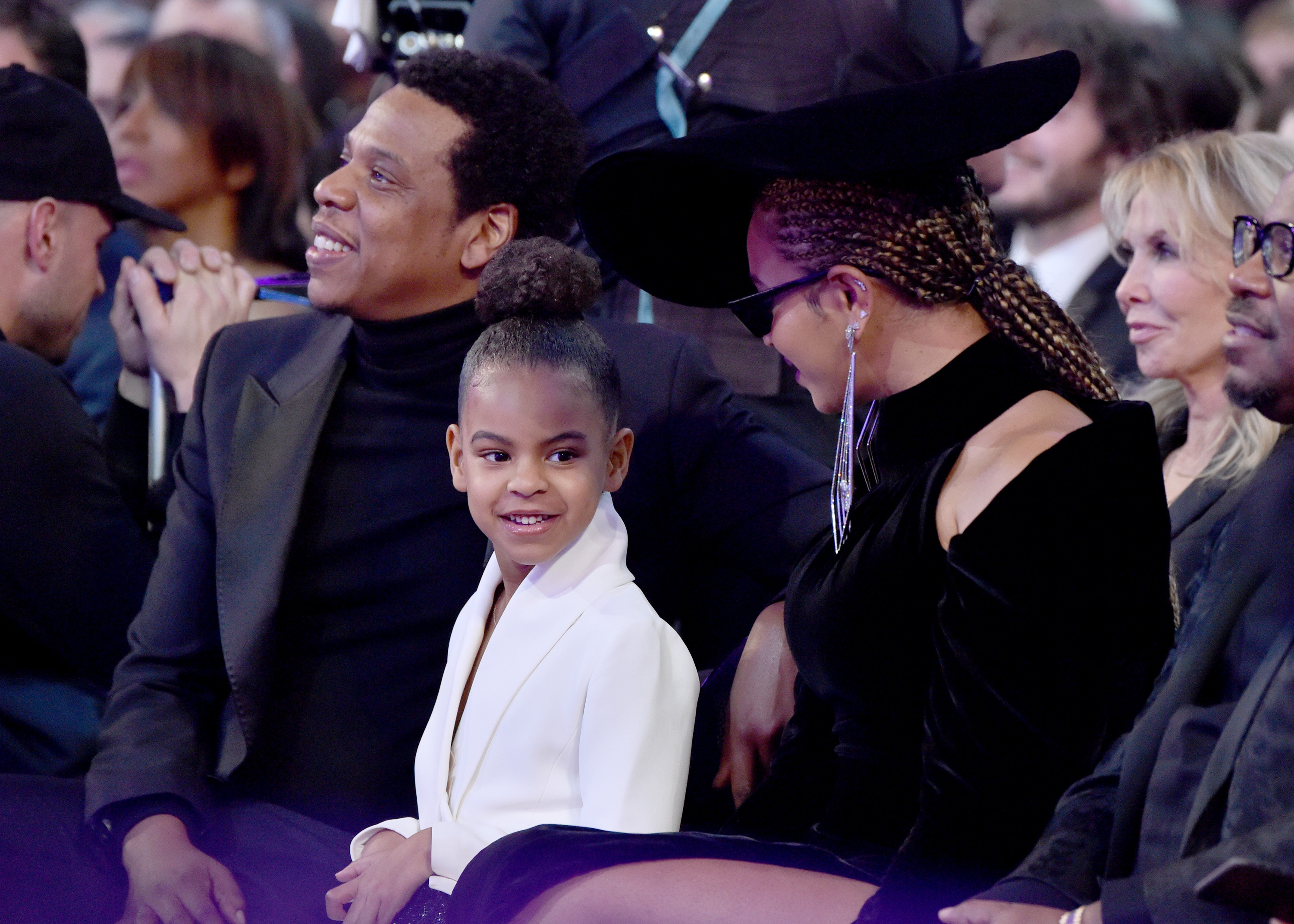 Recording artist Jay Z, daughter Blue Ivy Carter and recording artist Beyonce attend the 60th Annual GRAMMY Awards at Madison Square Garden on January 28, 2018 in New York City.