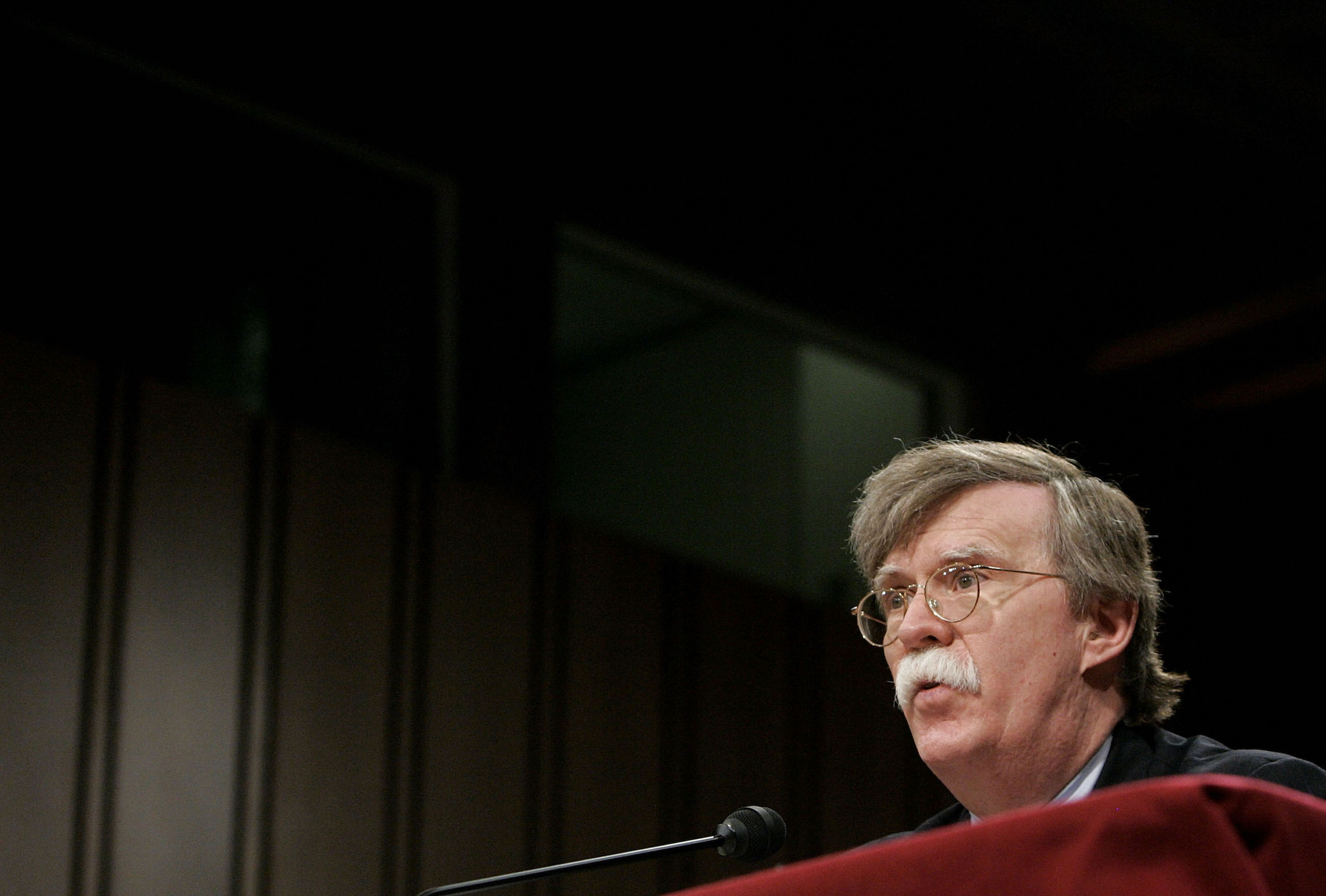 John Bolton testifies during a Senate Foreign Relations Committee hearing on Capitol Hill April 11, 2005 in Washington, D.C. The committee is hearing testimony from Bolton who has been nominated to be U.S. representative to the United Nations.