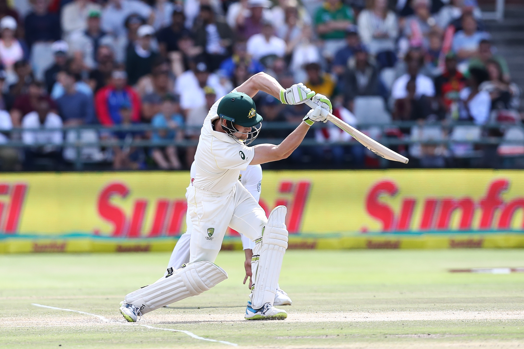 CAPE TOWN, SOUTH AFRICA - MARCH 25: Cameron Bancroft of Australia during day 4 of the 3rd Sunfoil Test match between South Africa and Australia at PPC Newlands on March 25, 2018 in Cape Town, South Africa. (Photo by EJ Langer/Gallo Images/Getty Images)