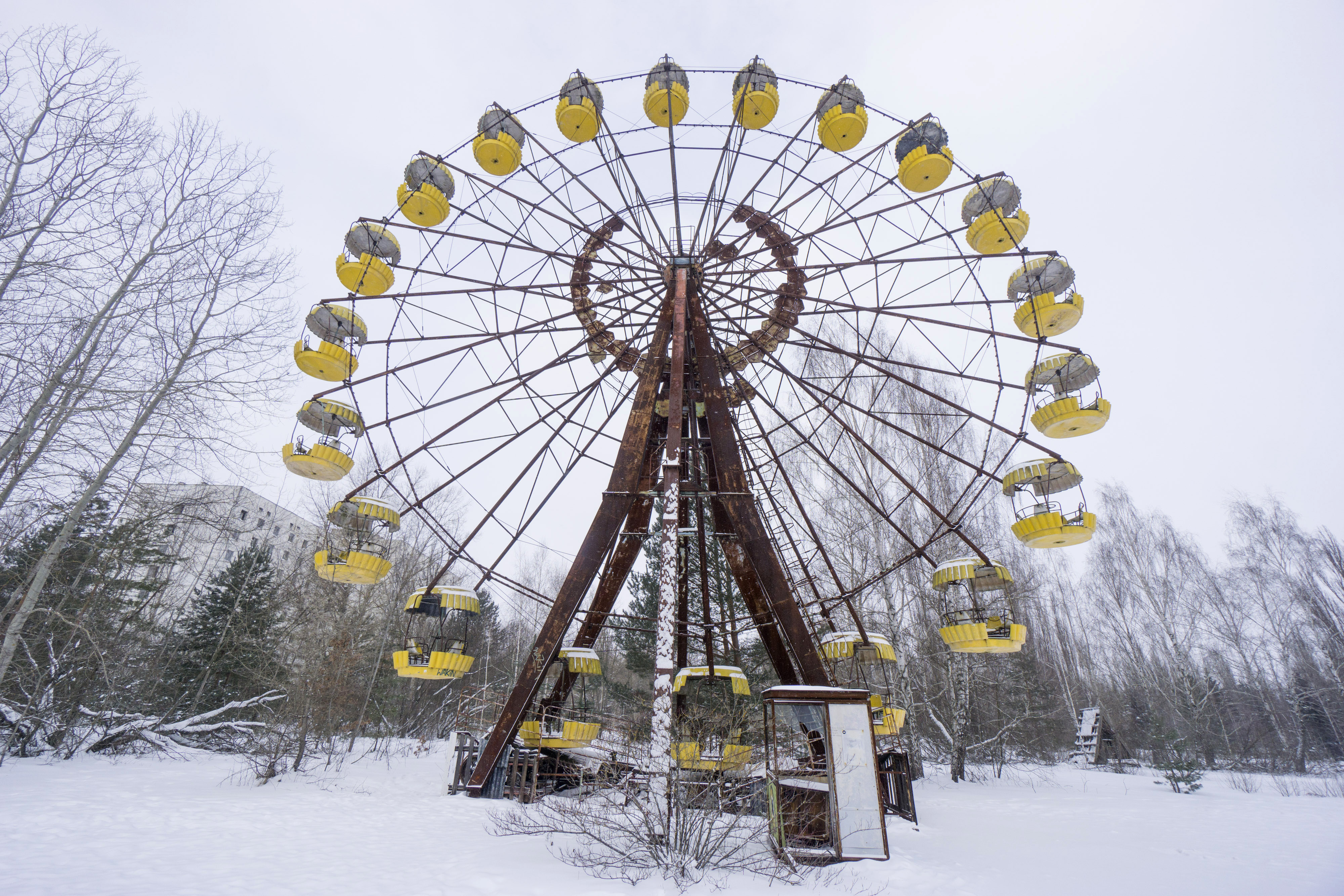 An abandoned ferris wheel in the evacuated city of in Pripyat, Ukraine, on Feb. 28, 2018, where Solar Chernobyl SPP is the latest experiment to give a place synonymous with catastrophe a new life after previous efforts failed
