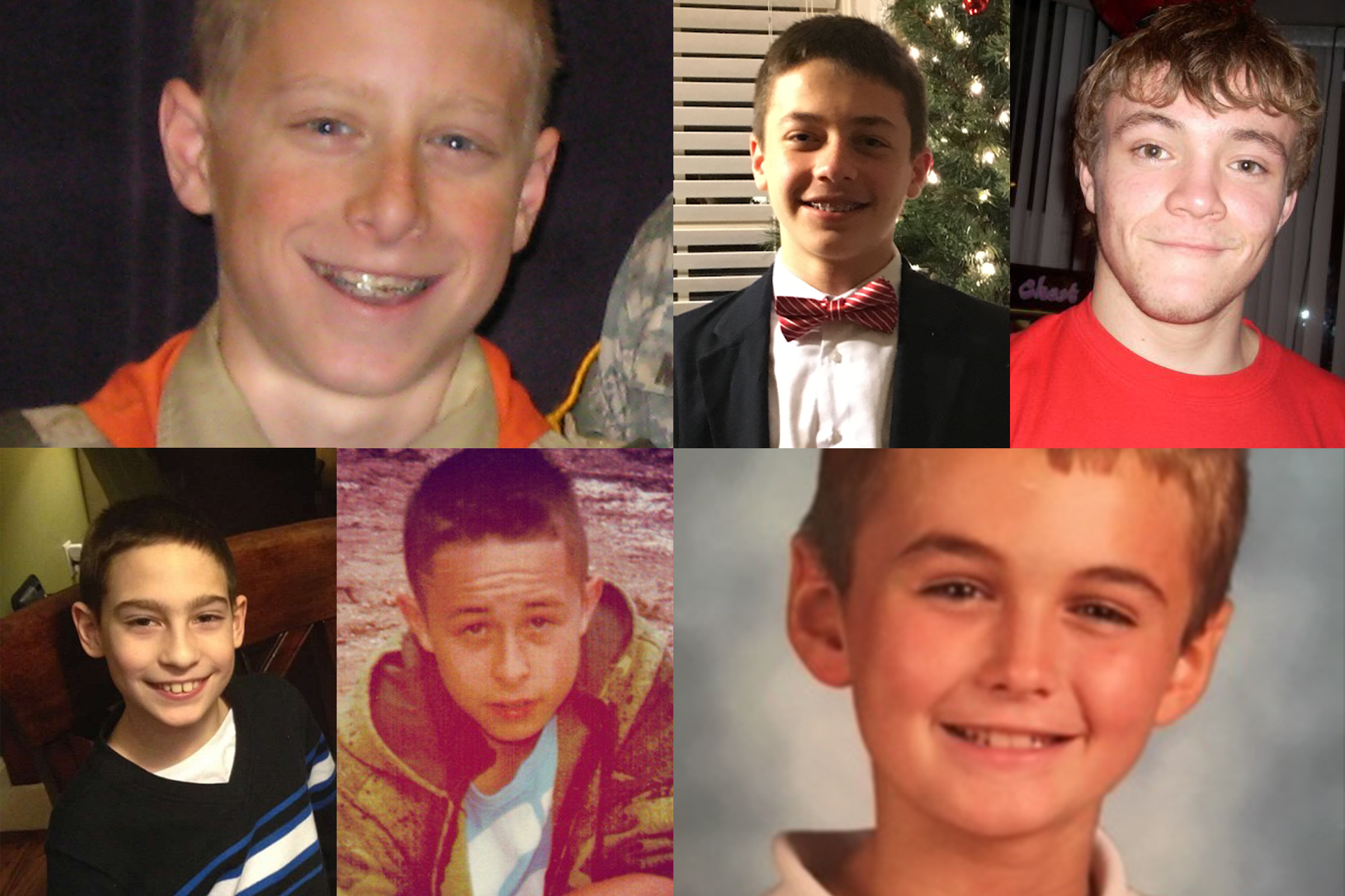 These six boys are among the many children and teenagers in the U.S. who have died from playing the Choking Game. Clockwise from top left: Erik Robinson was 12 when he died in California in 2010; Carson Steele was 14 when he died in South Carolina in 2016; Mack Jensen was 17 when he died in Wisconsin in 2009; Garrett Pope was 11 when he died in South Carolina in 2016; Tristan Farnsworth was 13 when he died in Utah in 2012; Evan Ziemniak was 12 when he died in Pennsylvania in 2016.