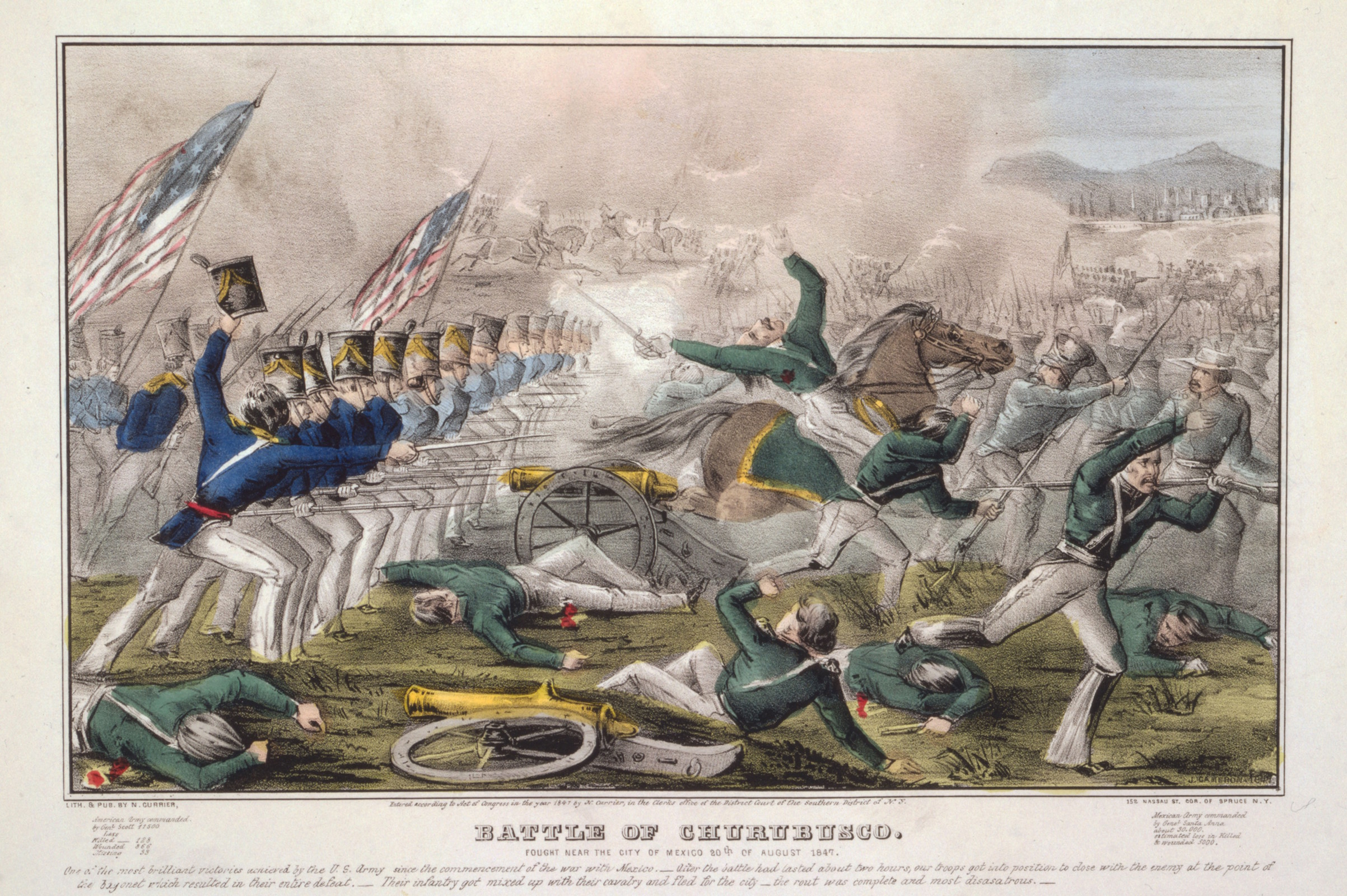 Currier & Ives illustration of the Battle of Churubusco, Aug. 20, 1847, fought  5 miles from Mexico City.
