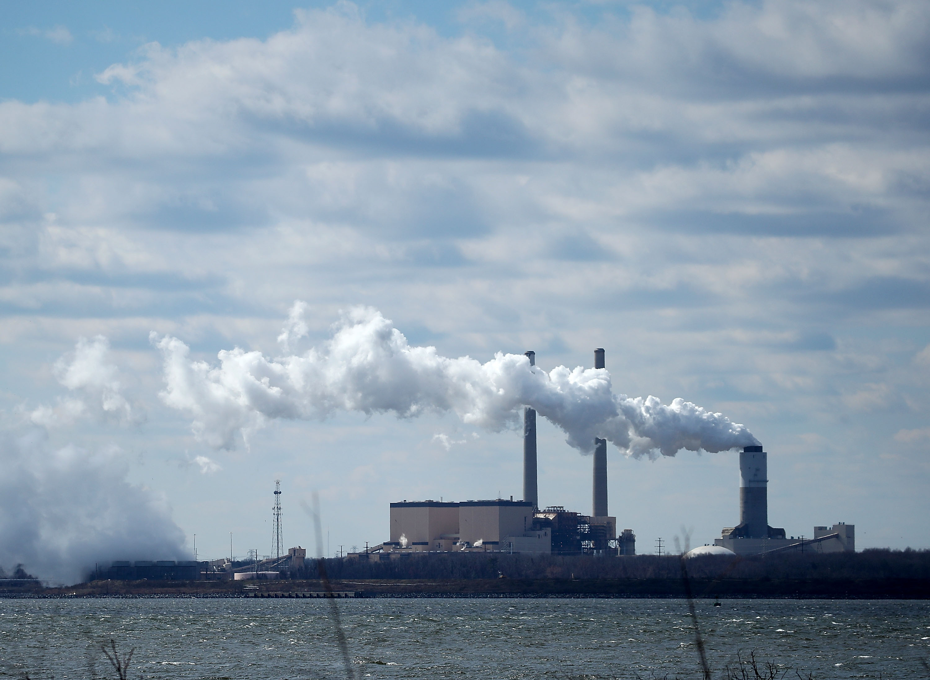 Emissions spew from a large stack at the coal fired Brandon Shores Power Plant, on March 9 in Baltimore