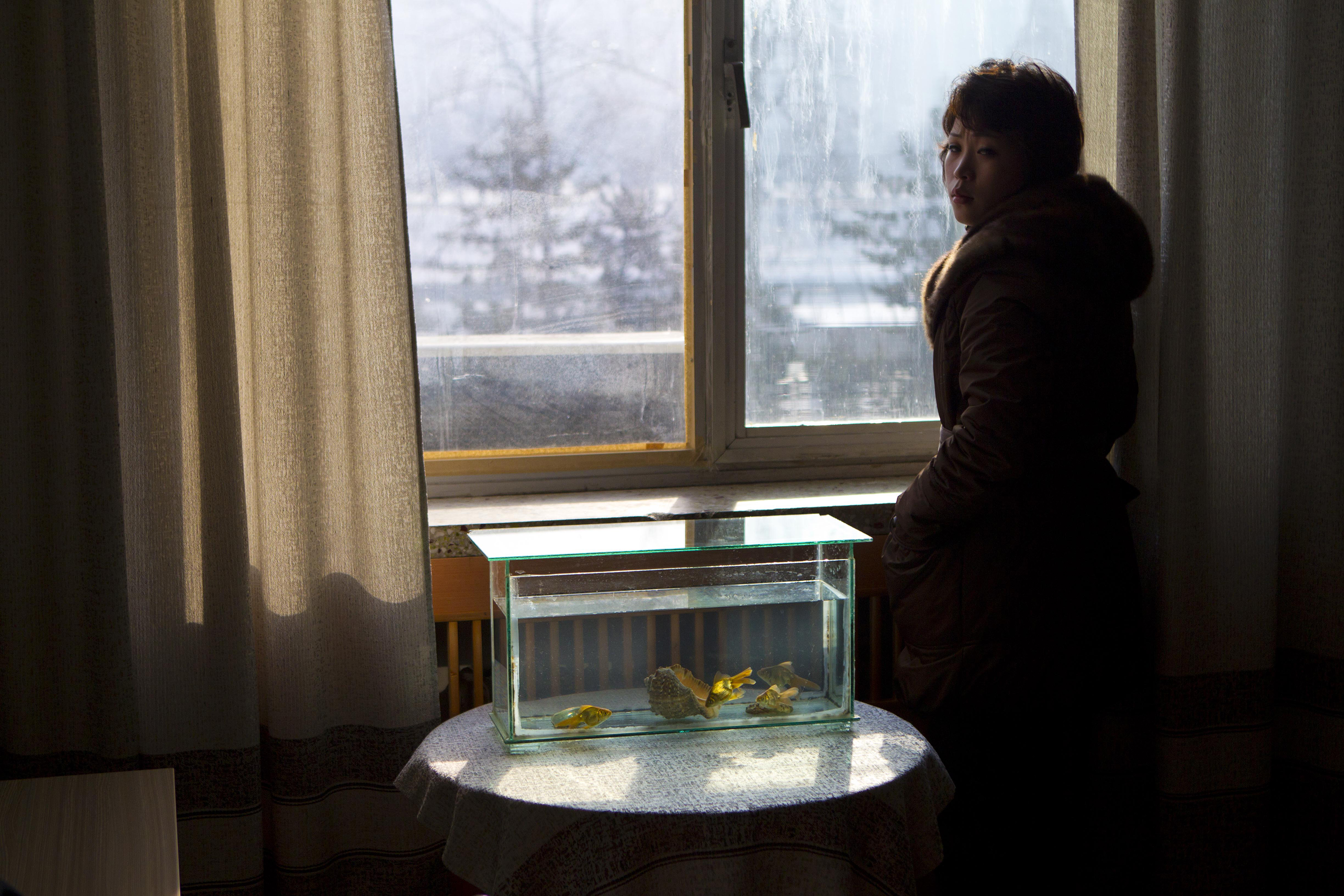 An office at the Korean Central News Agency building in Pyongyang on Jan. 16, 2012.