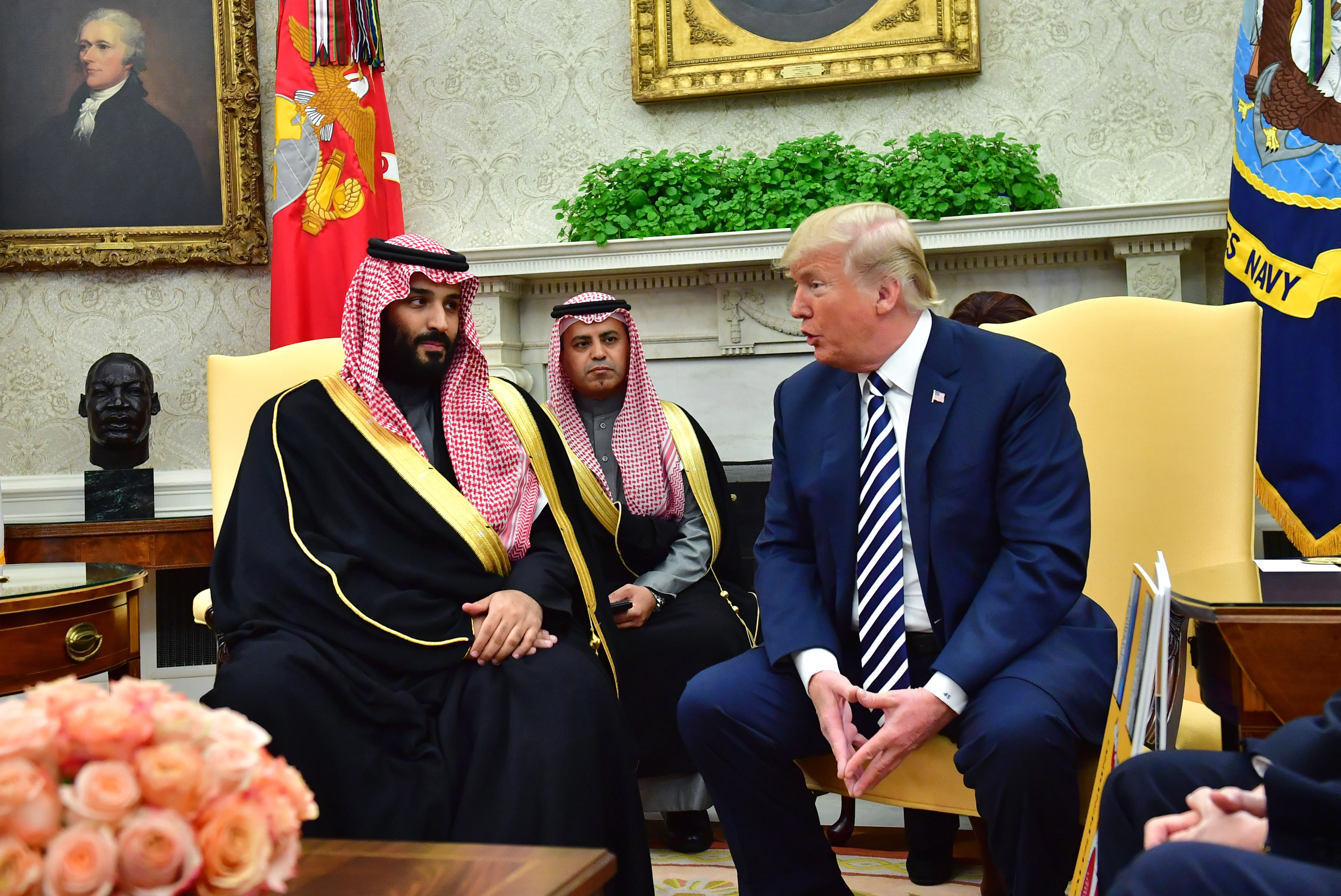 U.S. President Donald Trump, right, speaks while Mohammed bin Salman, Saudi Arabia's crown prince, left, listens during a meeting in the Oval Office of the White House. on March 20