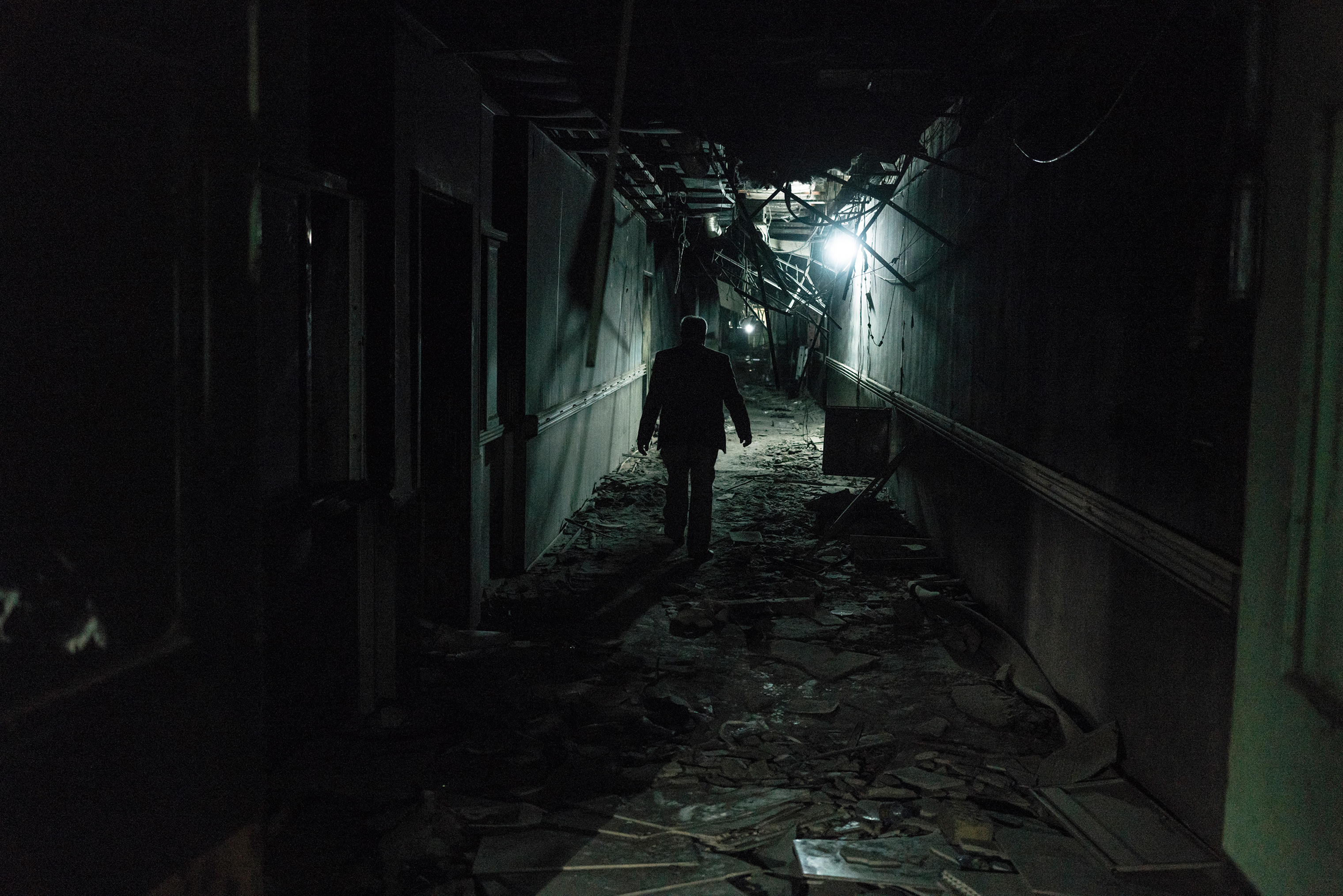 A man walks inside a corridor of the Fallujah Teaching Hospital on Feb. 1.