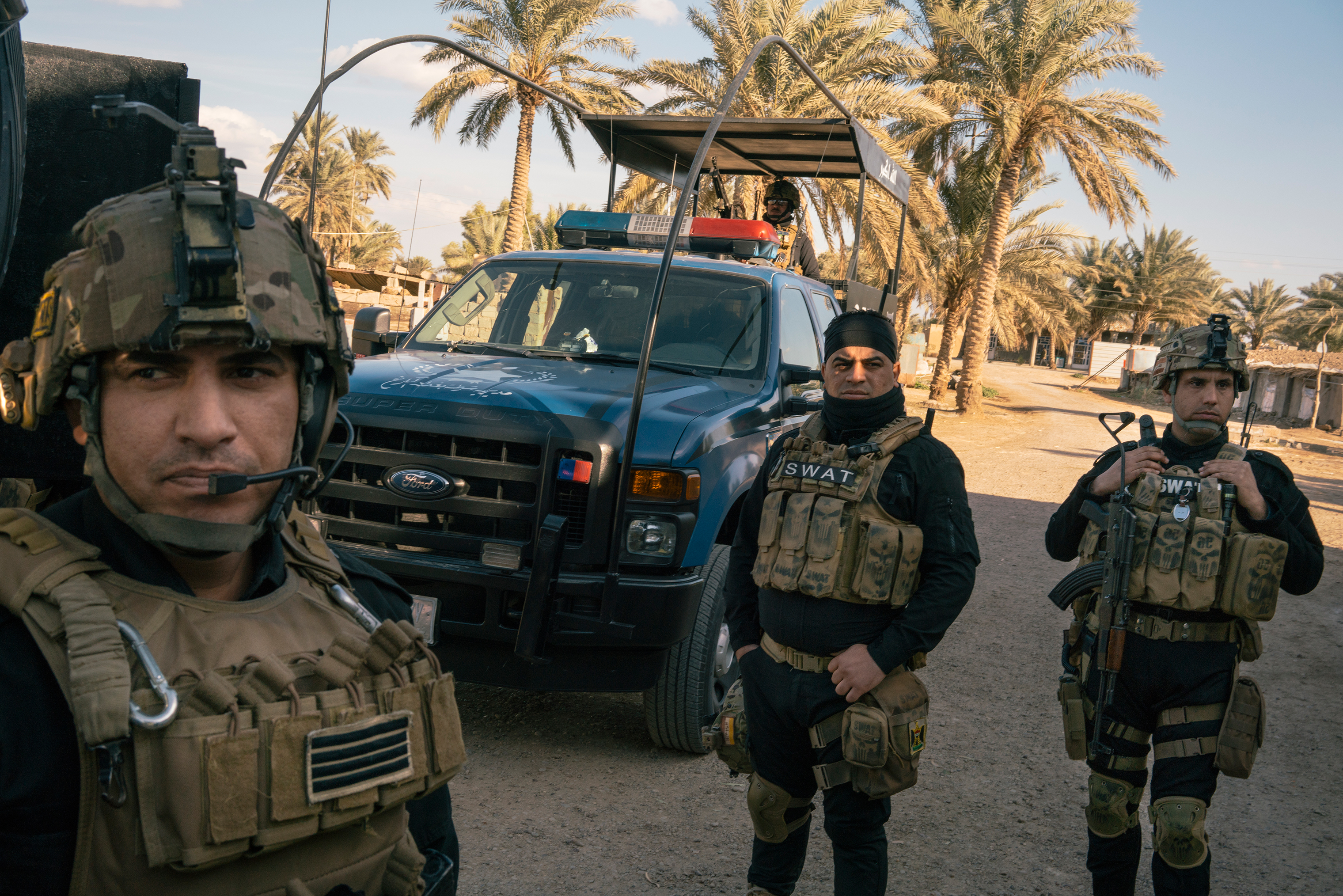 Iraqi special forces near Ibrahim Bin Ali on Jan. 30, a couple dozen miles from Baghdad; the village marks the closest ISIS came to the capital.