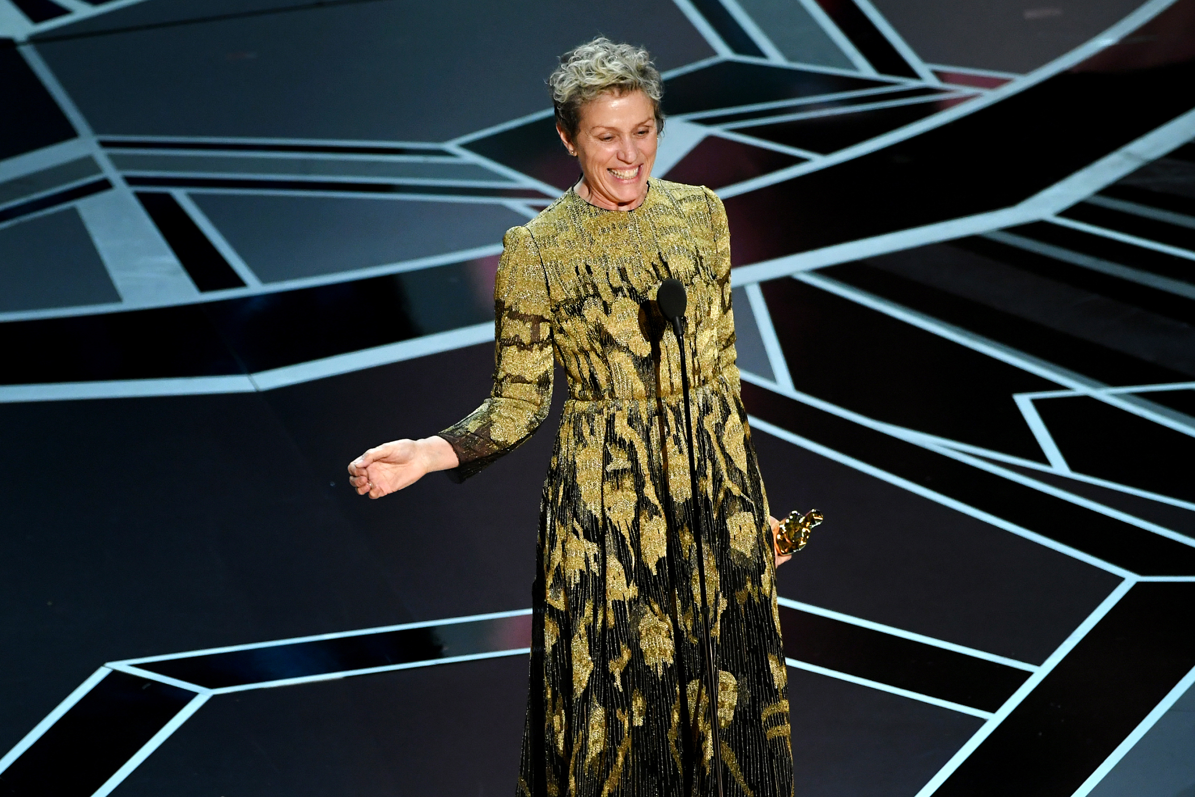 Actor Frances McDormand accepts Best Actress for 'Three Billboards Outside Ebbing, Missouri' onstage during the 90th Annual Academy Awards at the Dolby Theatre at Hollywood & Highland Center on March 4, 2018 in Hollywood.