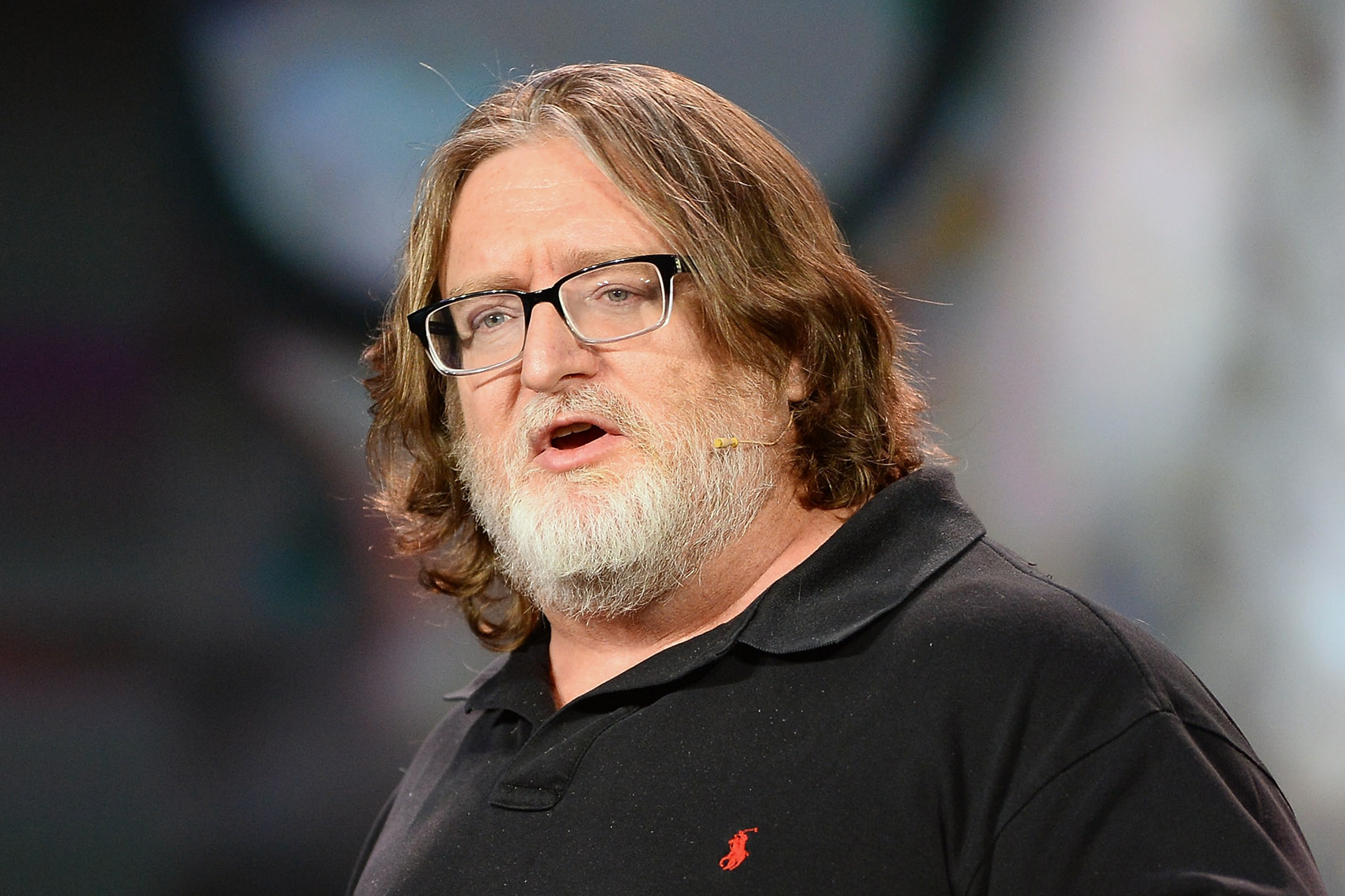 Gabe Newell, co-founder of video game developer and distributor Valve, speaks during Krzanich's keynote address at the 2014 International CES at The Venetian Las Vegas on January 6, 2014 in Las Vegas, Nevada.