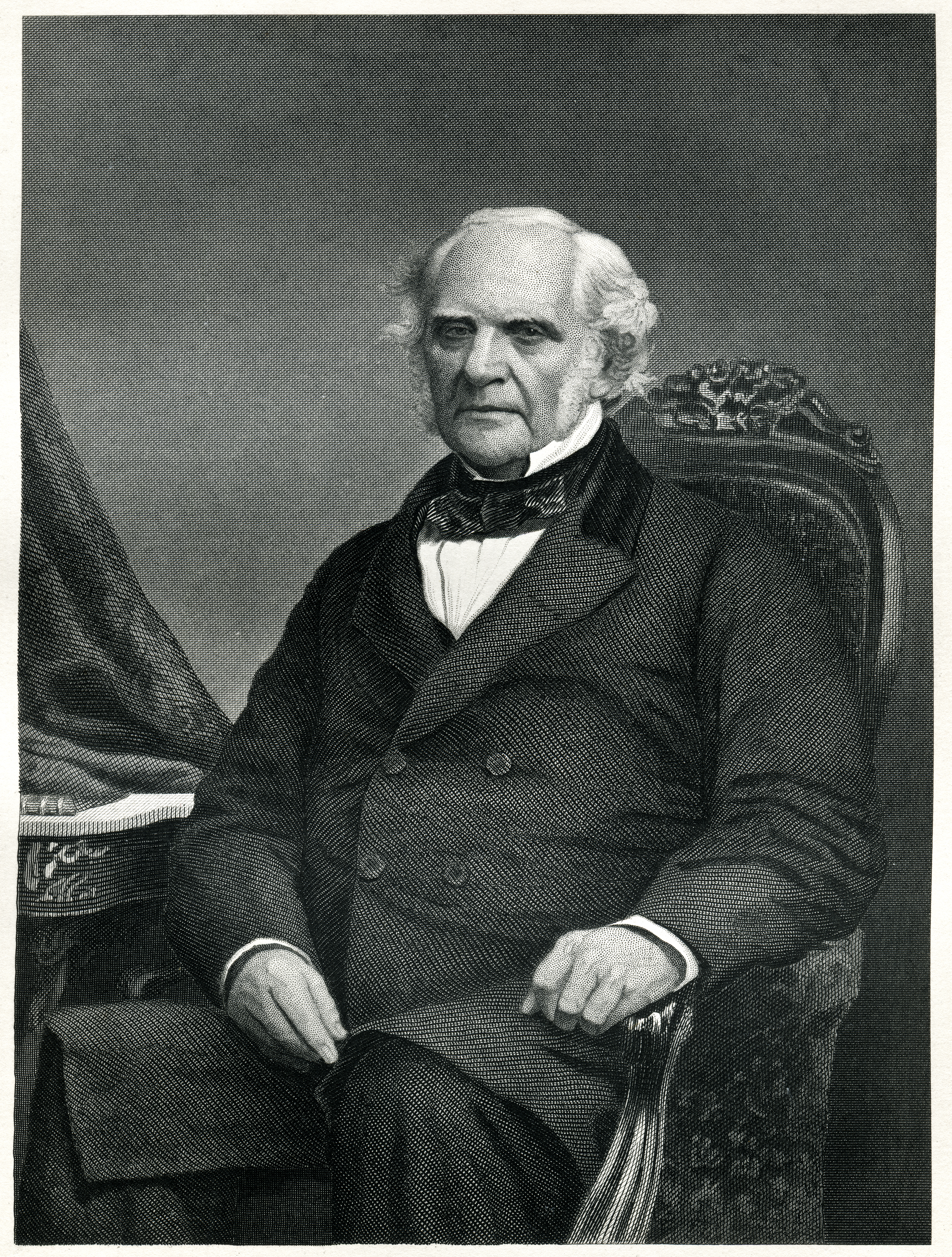 Engraving From 1873 Featuring The American Businessman And Philanthropist, George Peabody. Peabody Lived From 1795 Until 1869.