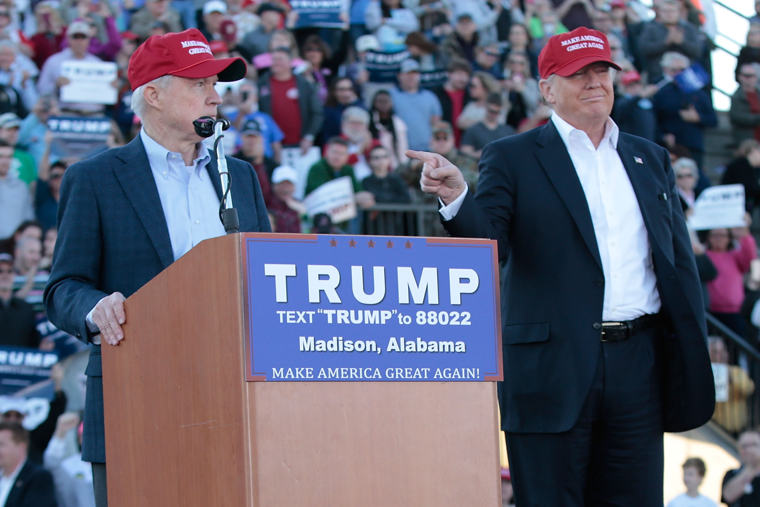 United States Senator Jeff Sessions, R-Alabama, becomes the first Senator to endorse Donald Trump for President of the United States at Madison City Stadium on February 28, 2016 in Madison, Alabama. (Photo by Taylor Hill/WireImage)
