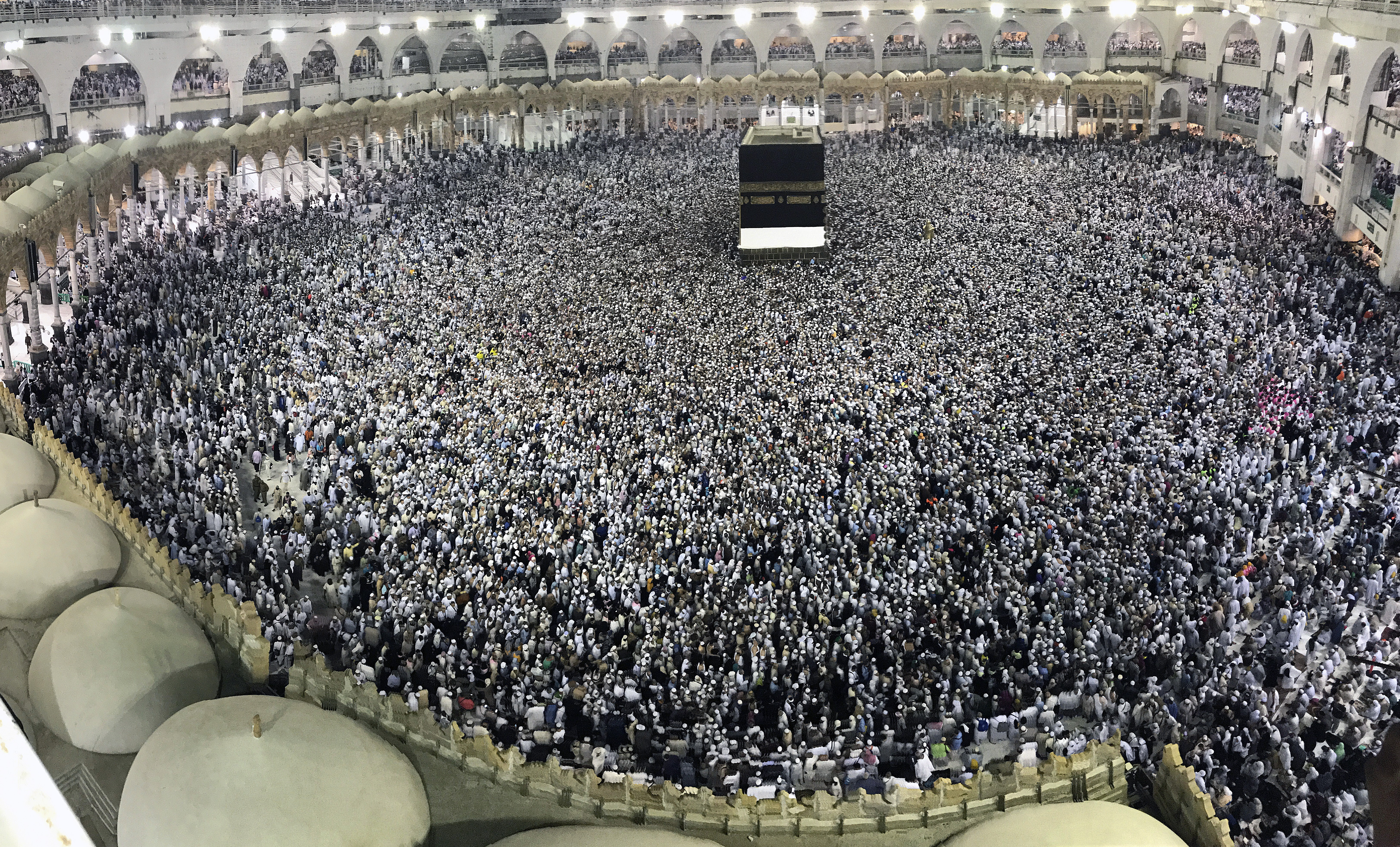 Hajj pilgrims circumambulate around the Kaaba, Islam's holiest site, located in the center of the Masjid al-Haram (Grand Mosque) in Mecca, Saudi Arabia on Aug. 22, 2017.