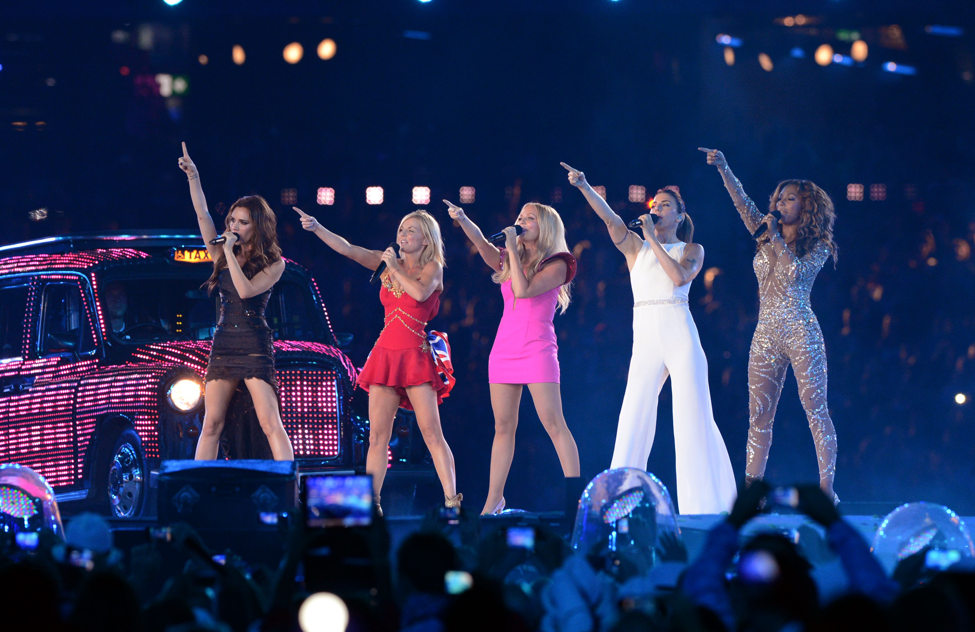 The Spice Girls Victoria Beckham, Geri Halliwell, Emma Bunton, Melanie Chisholm, Melanie Brown perform during the closing ceremony of the London 2012 Olympic games, London   (Photo by Anthony Devlin/PA Images via Getty Images)