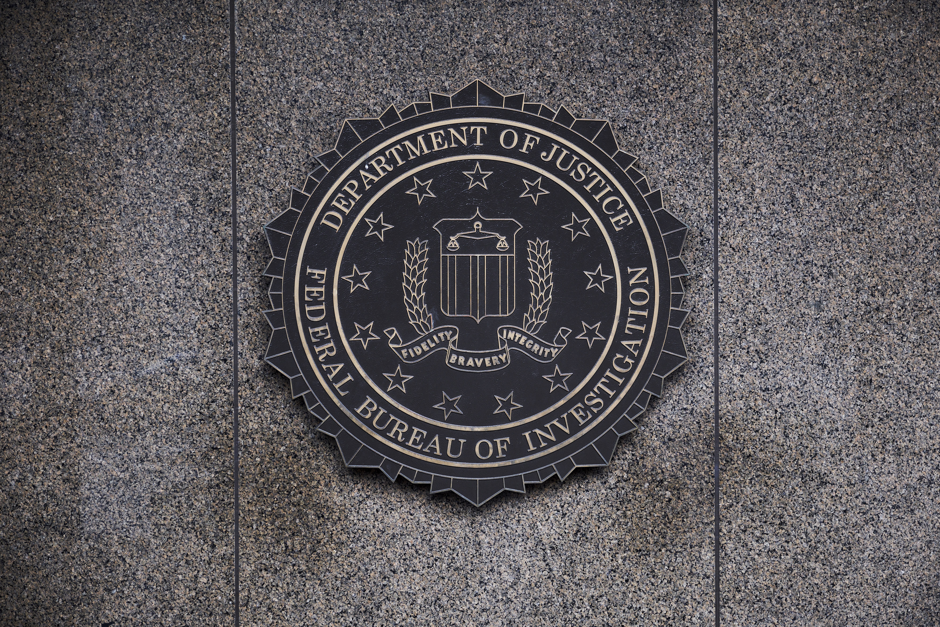 The Federal Bureau of Investigation seal is displayed outside FBI headquarters in Washington, D.C. on Feb. 2, 2018.
