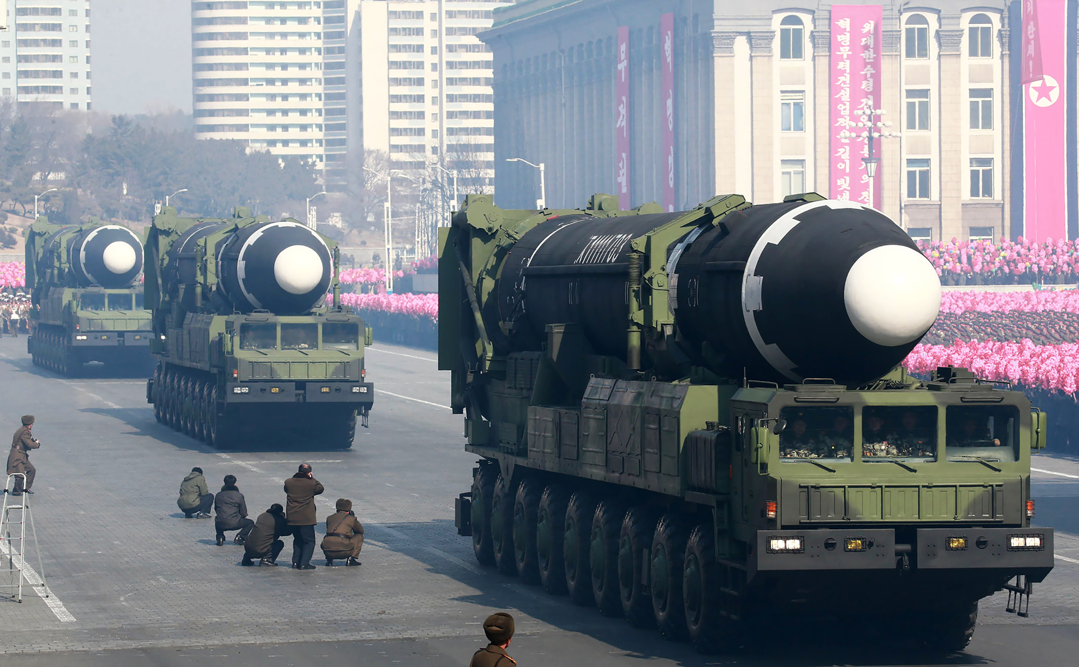 This photo taken on Feb. 8, 2018 and released on Feb.9, 2018 by North Korea's official Korean Central News Agency (KCNA) shows Hwasong-15 ballistic missile during the military parade to mark the 70th anniversary of the Korean People's Army in Pyongyang.