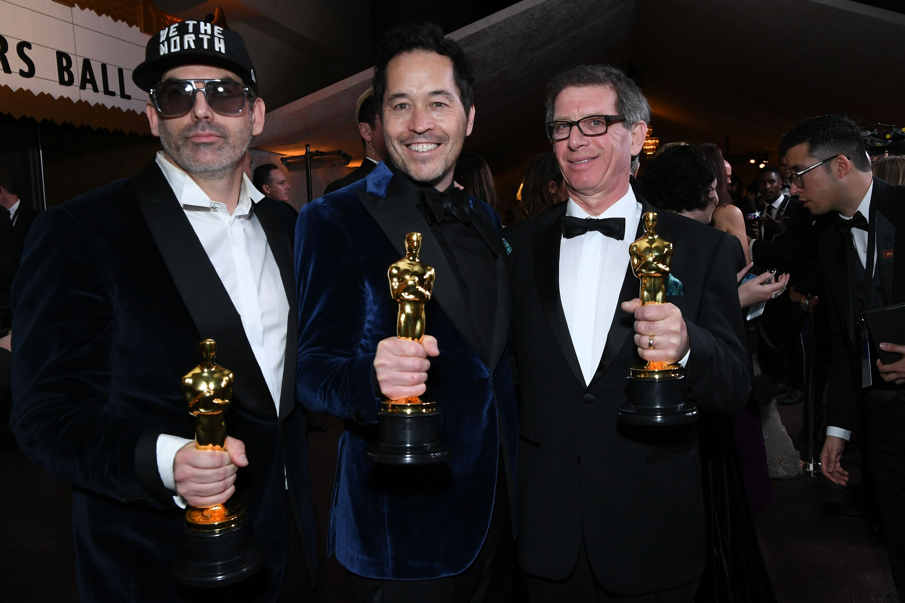 Best Production Design laureates, production designer Paul Denham Austerberry (C) and set decorators Shane Vieau (L) and Jeffrey A. Melvin attend the 90th Annual Academy Awards Governors Ball at the Hollywood & Highland Center on March 4, 2018, in Hollywood, Calif.
