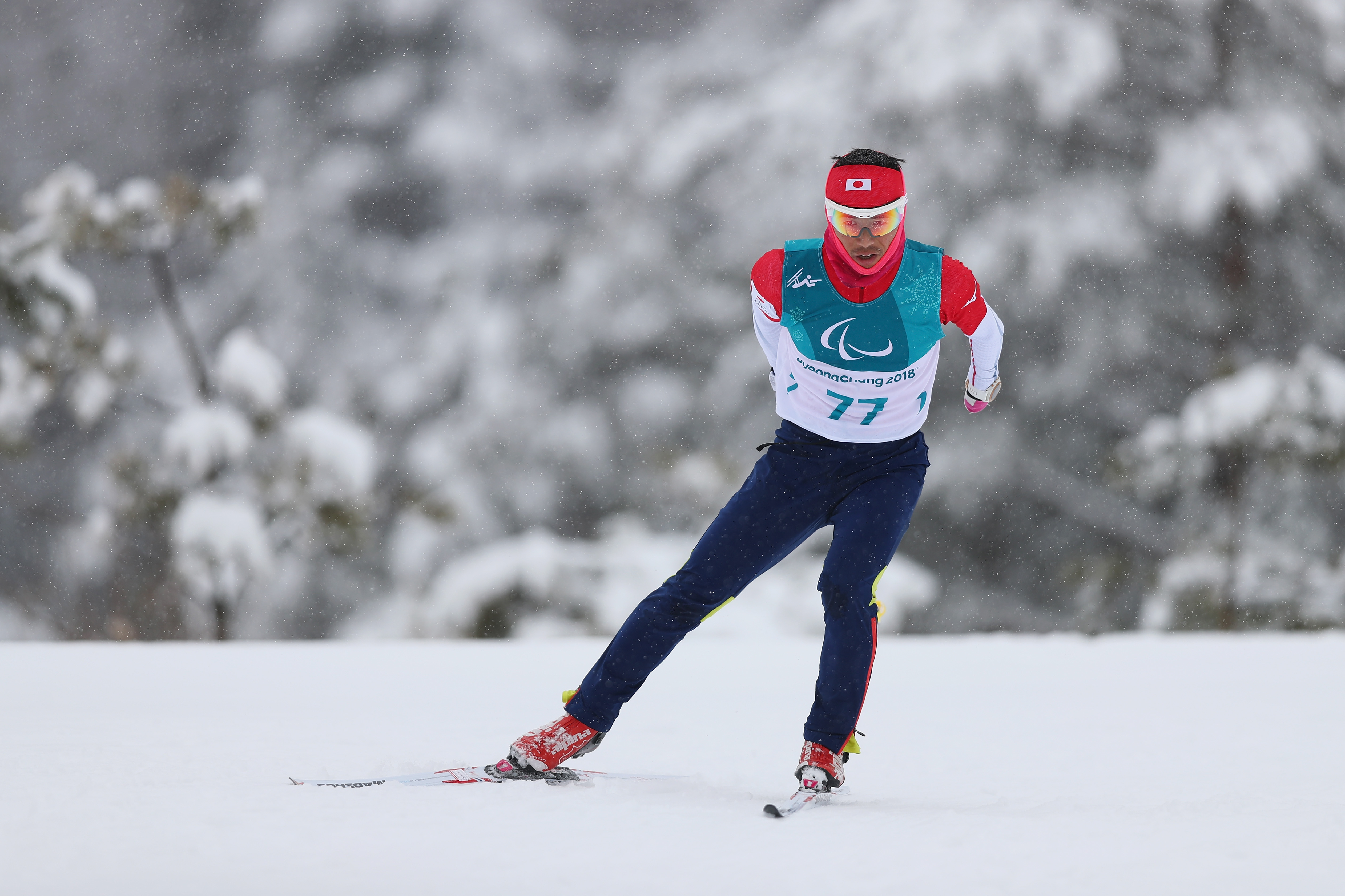 Keiichi Sato of Japan in action during a Biathlon training session ahead of the PyeongChang 2018 Paralympic Games on March 8, 2018 in PyeongChang, South Korea.