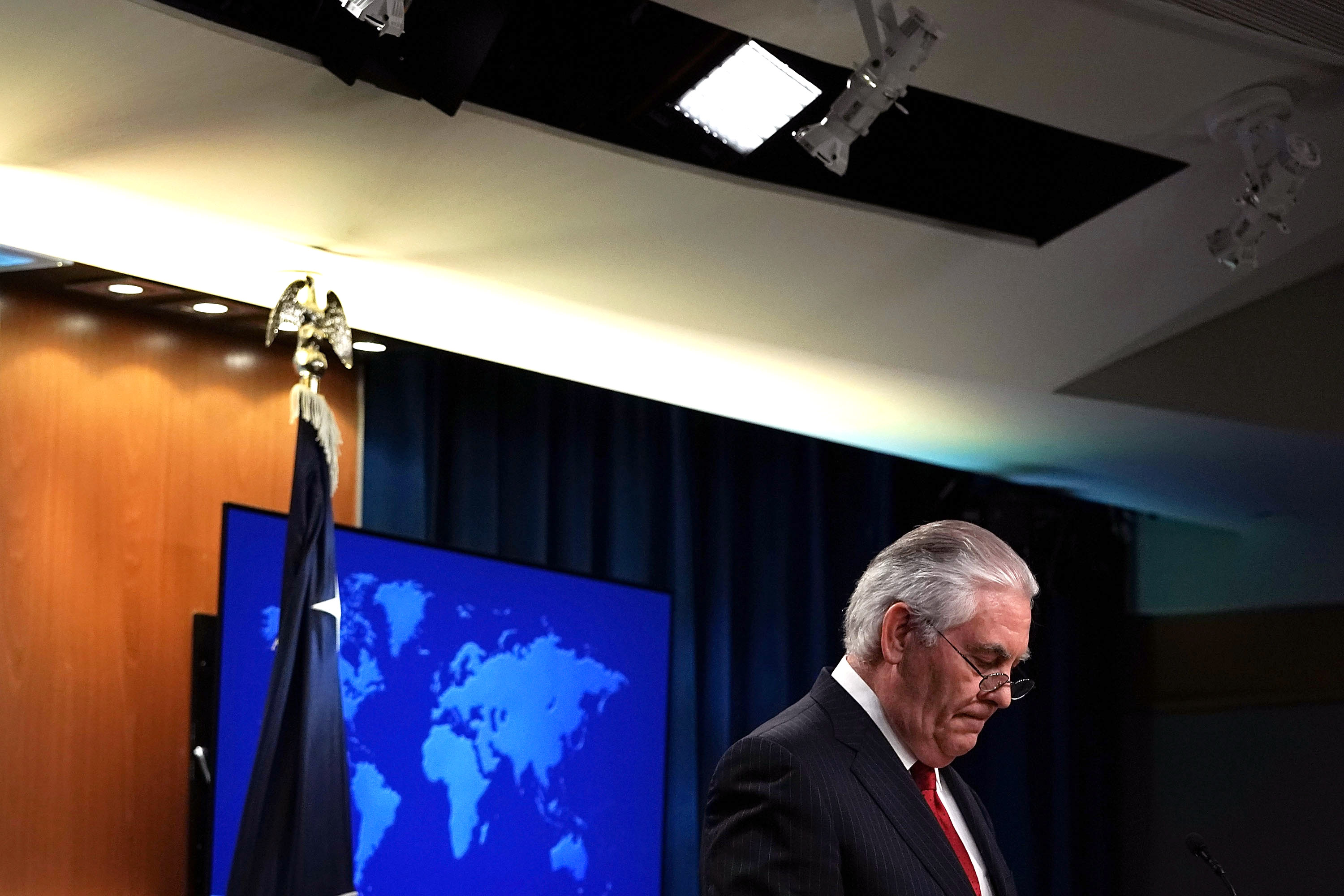 Outgoing U.S. Secretary of State Rex Tillerson pauses as he makes a statement on his departure from the State Department March 13, 2018 at the State Department in Washington, DC.