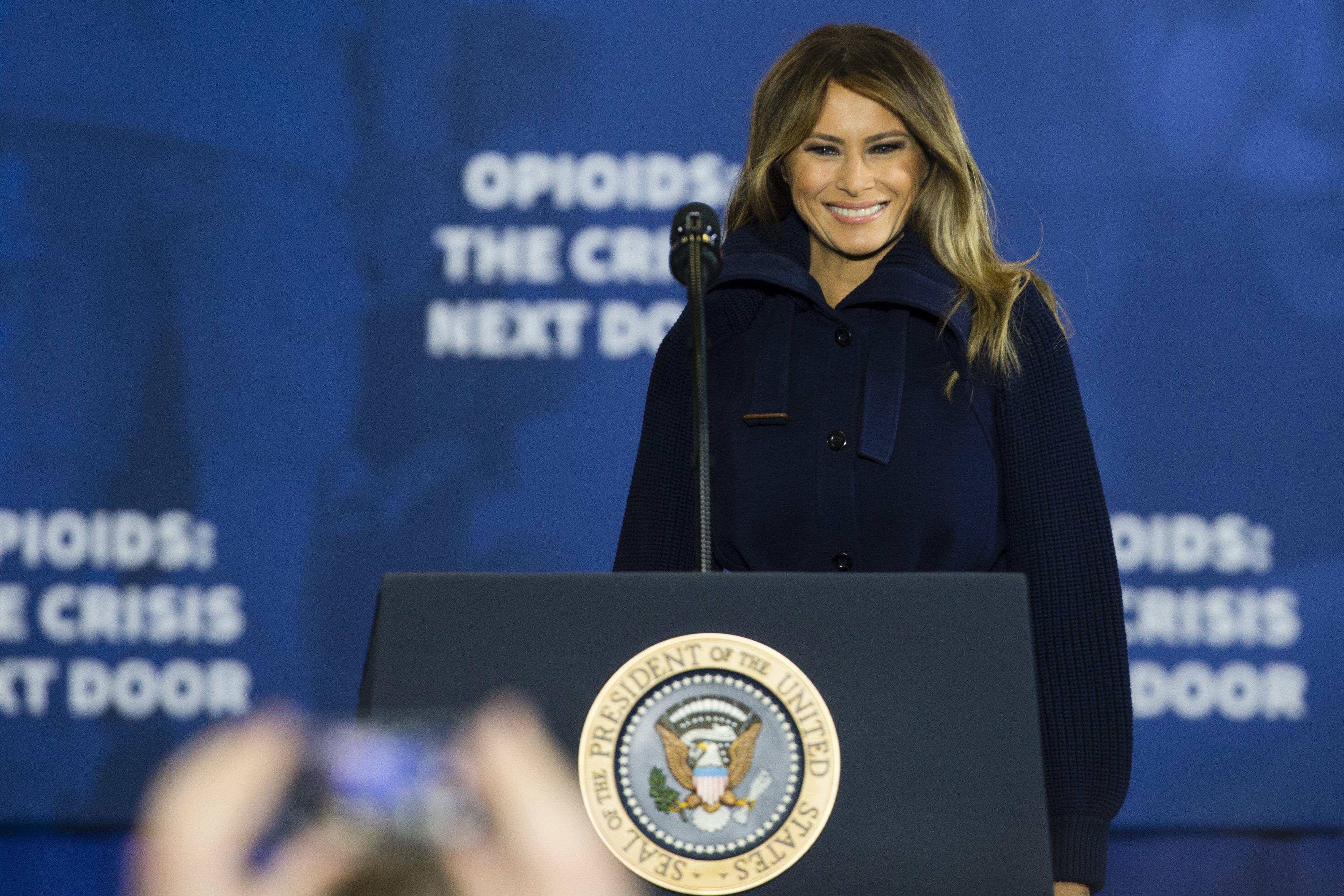 First Lady Melania Trump introduces President Donald Trump for a speech on his administration's plans to combat the opioid crisis at Manchester Community College in Manchester, NH on March 19, 2018.