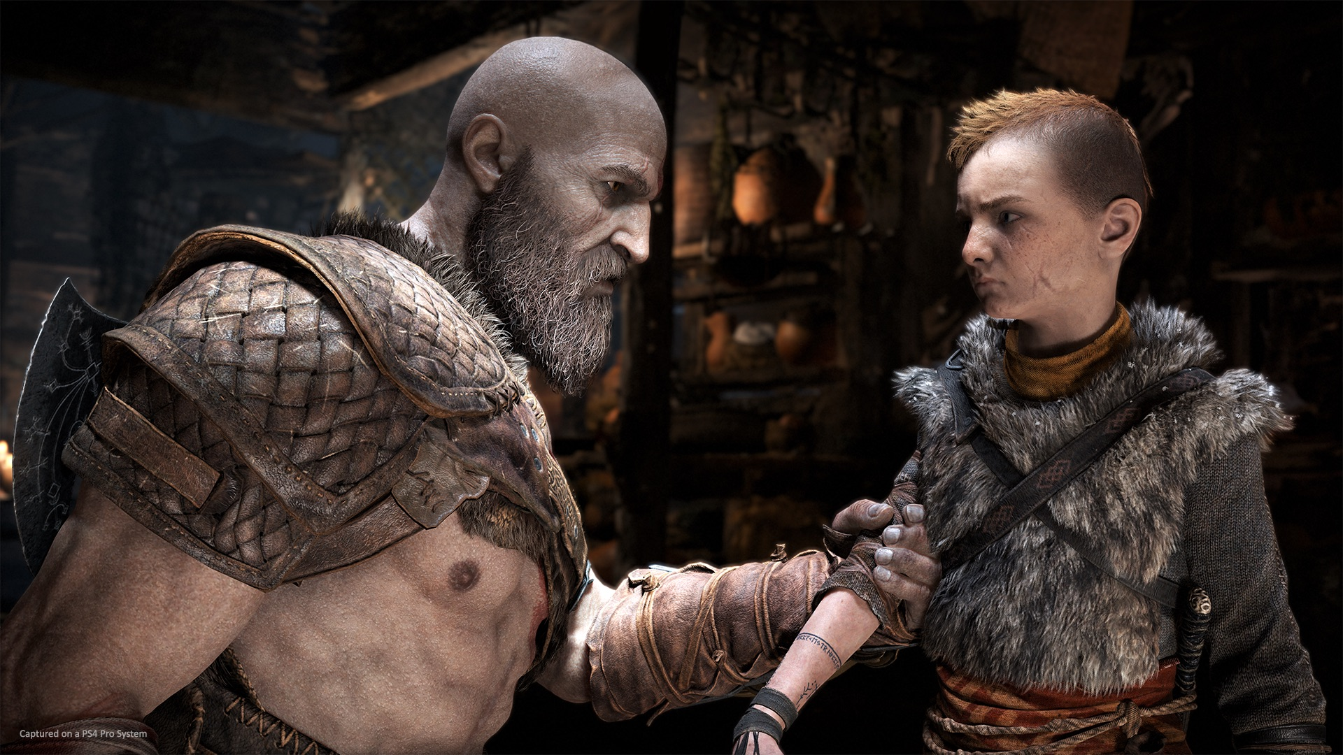 Kratos and his son Atreus in the new God of War game for the PS4