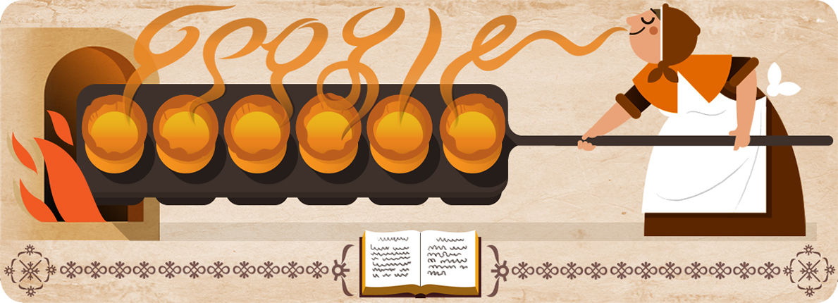 Google's March 28 doodle commemorates the 310th birthday of British cookbook author Hannah Glasse.
