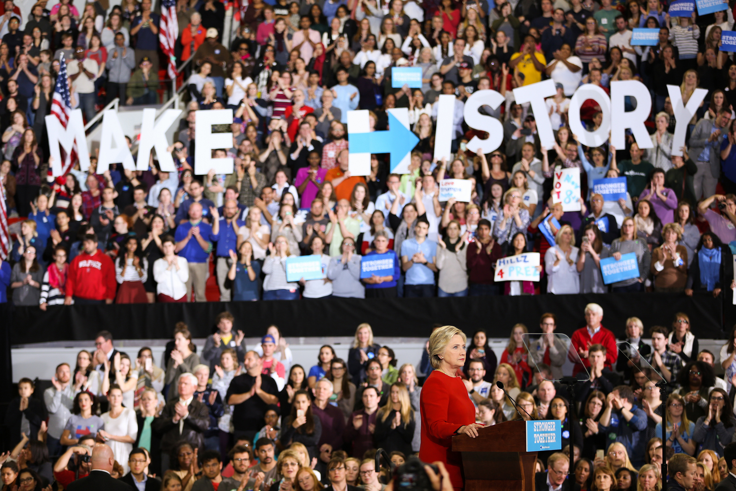 Hillary Clinton addresses the crowd of supporters inside the Reynolds Coliseum on the campus of North Carolina State University on the final campaign stop before election day, in Raleigh, N.C., on Nov. 7, 2016.