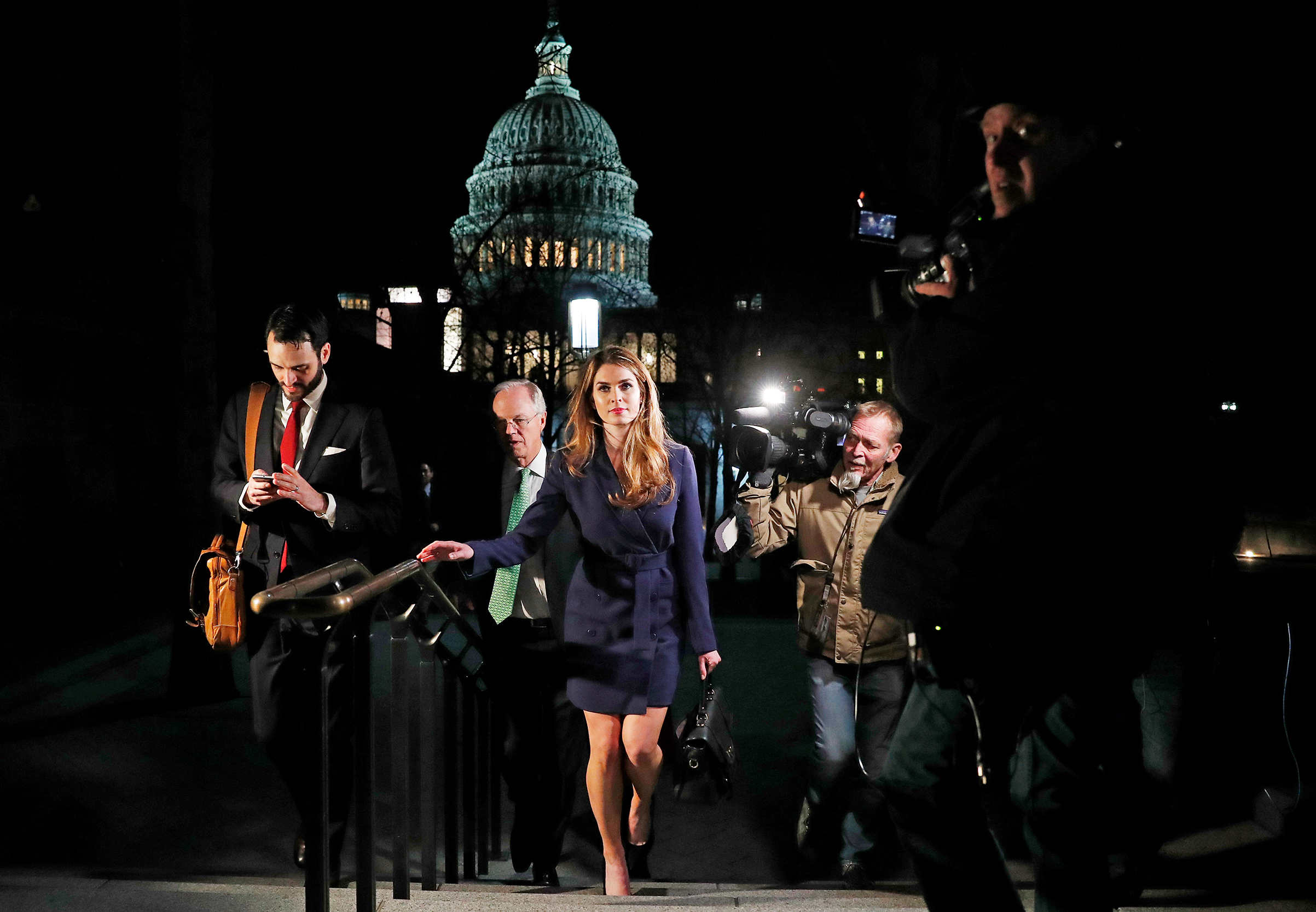 White House Communications Director Hope Hicks leaves after attending the House Intelligence Committee closed door meeting in Washington on Feb. 27, 2018.