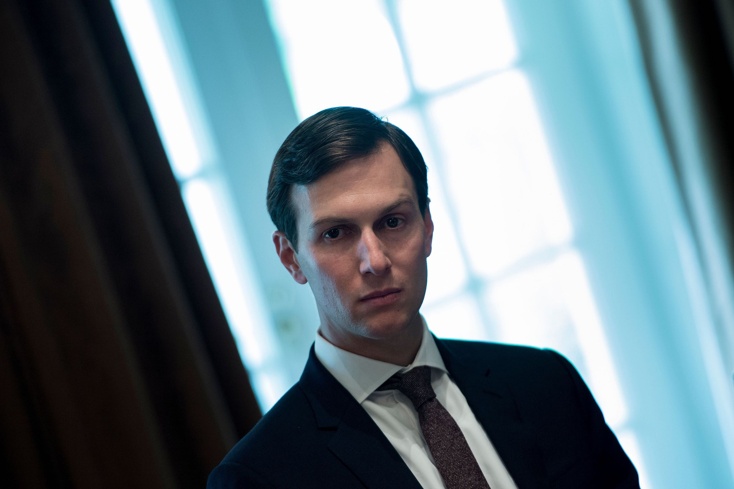 Senior Advisor Jared Kushner waits for a meeting with Prime Minister of Malaysia Najib Razak, U.S. President Donald Trump and others in the Cabinet Room of the White House Sept. 12, 2017 in Washington, D/C. / AFP PHOTO / Brendan Smialowski        (Photo credit should read BRENDAN SMIALOWSKI/AFP/Getty Images)