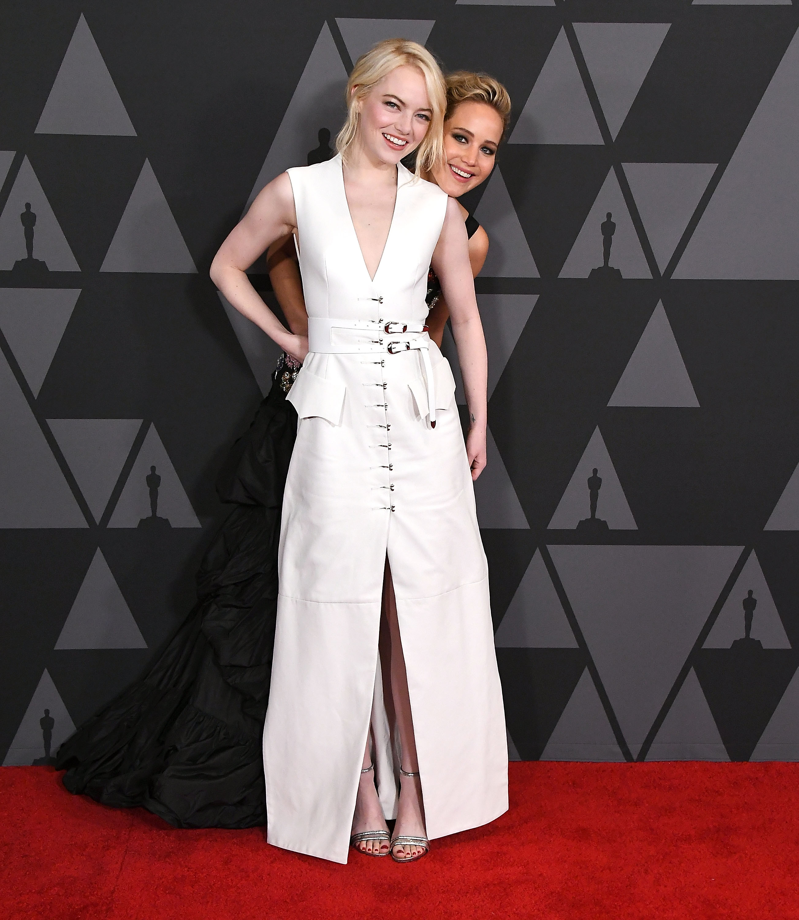Jennifer Lawrence, Emma Stone arrives at the Academy Of Motion Picture Arts And Sciences' 9th Annual Governors Awards at The Ray Dolby Ballroom at Hollywood & Highland Center on November 11, 2017 in Hollywood, California.